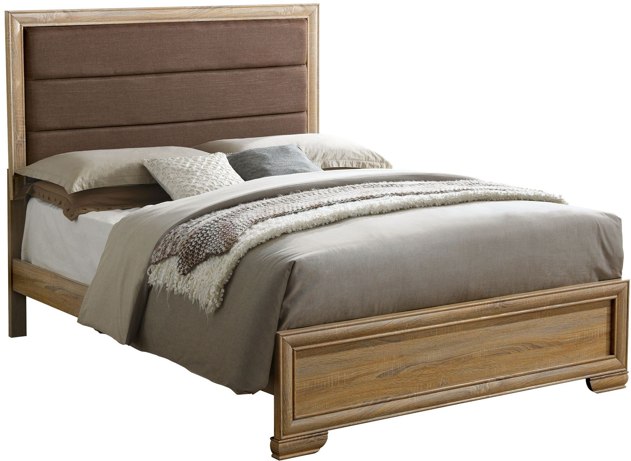 Renee natural cal king upholstered platform bed from for Furniture of america mattress