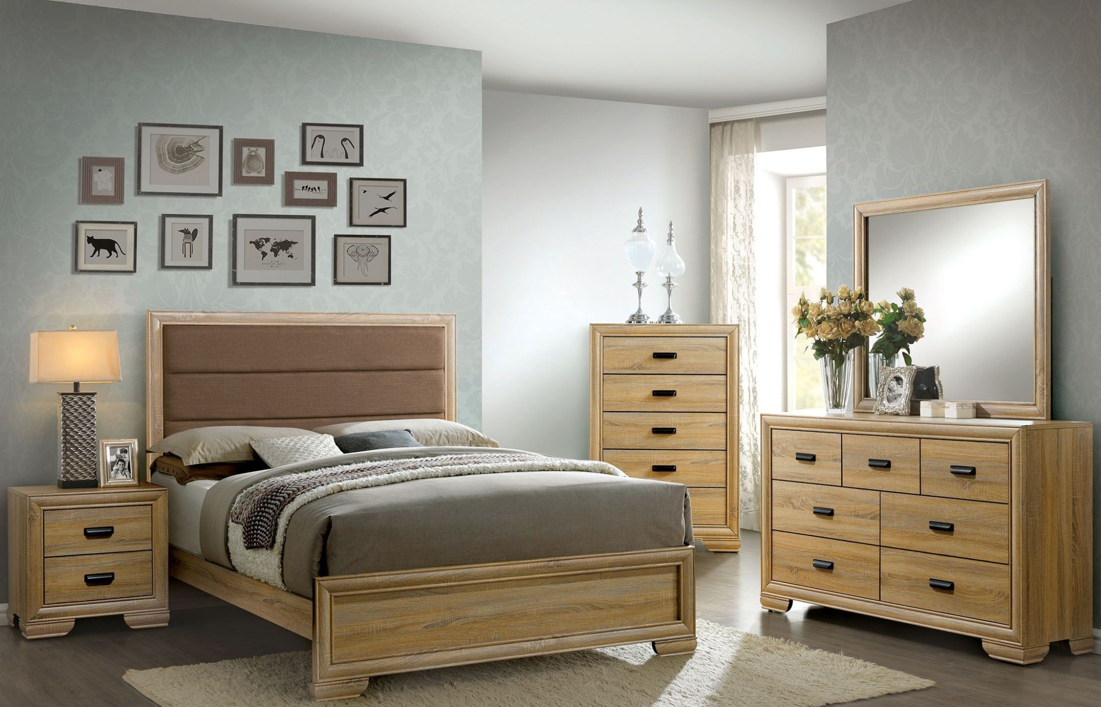 Renee natural upholstered platform bedroom set from