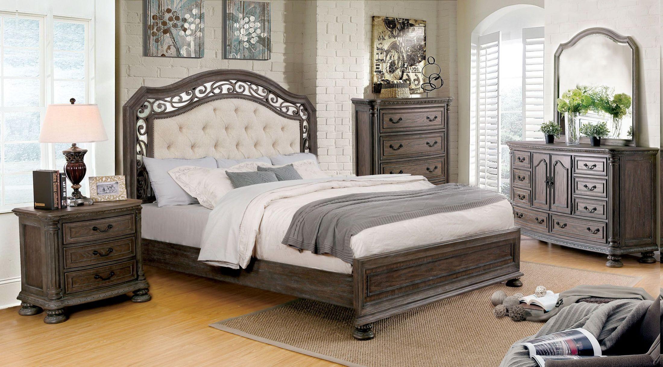 Persephone Rustic Natural Tone Upholstered Platform Bedroom Set From Furniture Of America