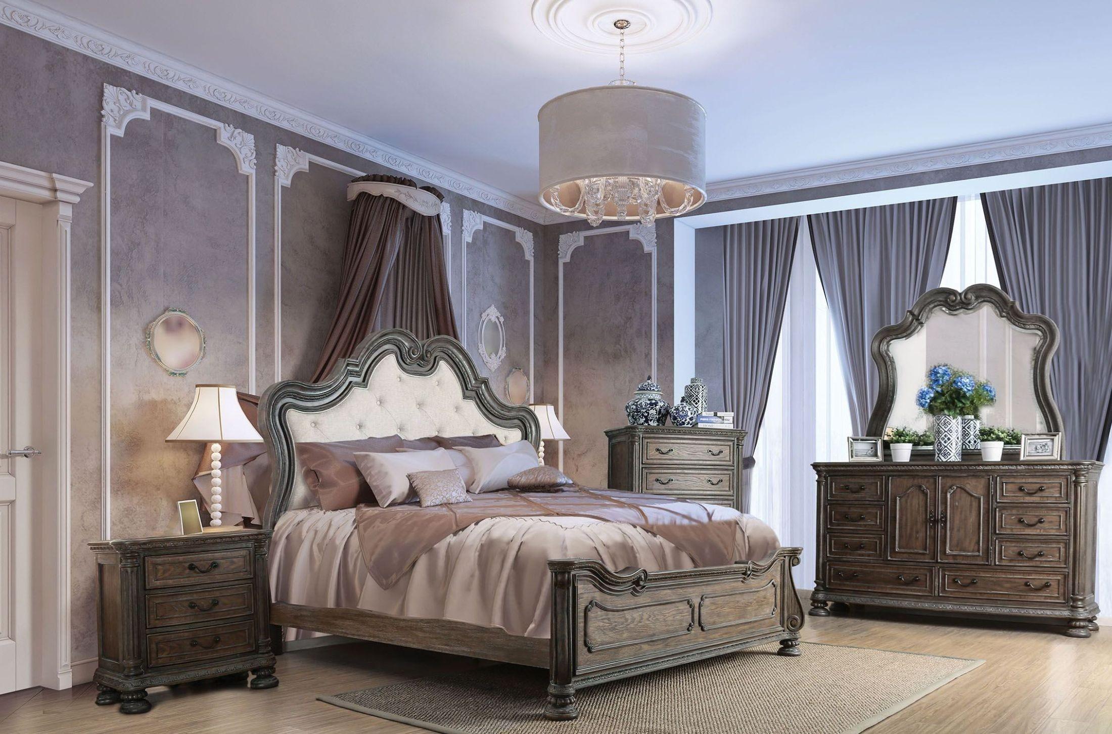 ariadne rustic natural tone upholstered panel bedroom set