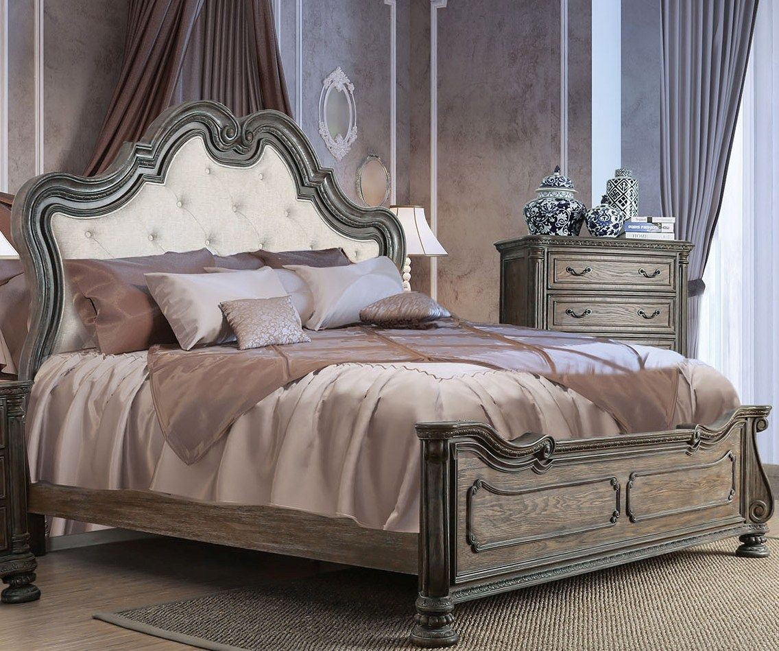ariadne rustic natural tone cal king upholstered panel bed from furniture of america coleman. Black Bedroom Furniture Sets. Home Design Ideas