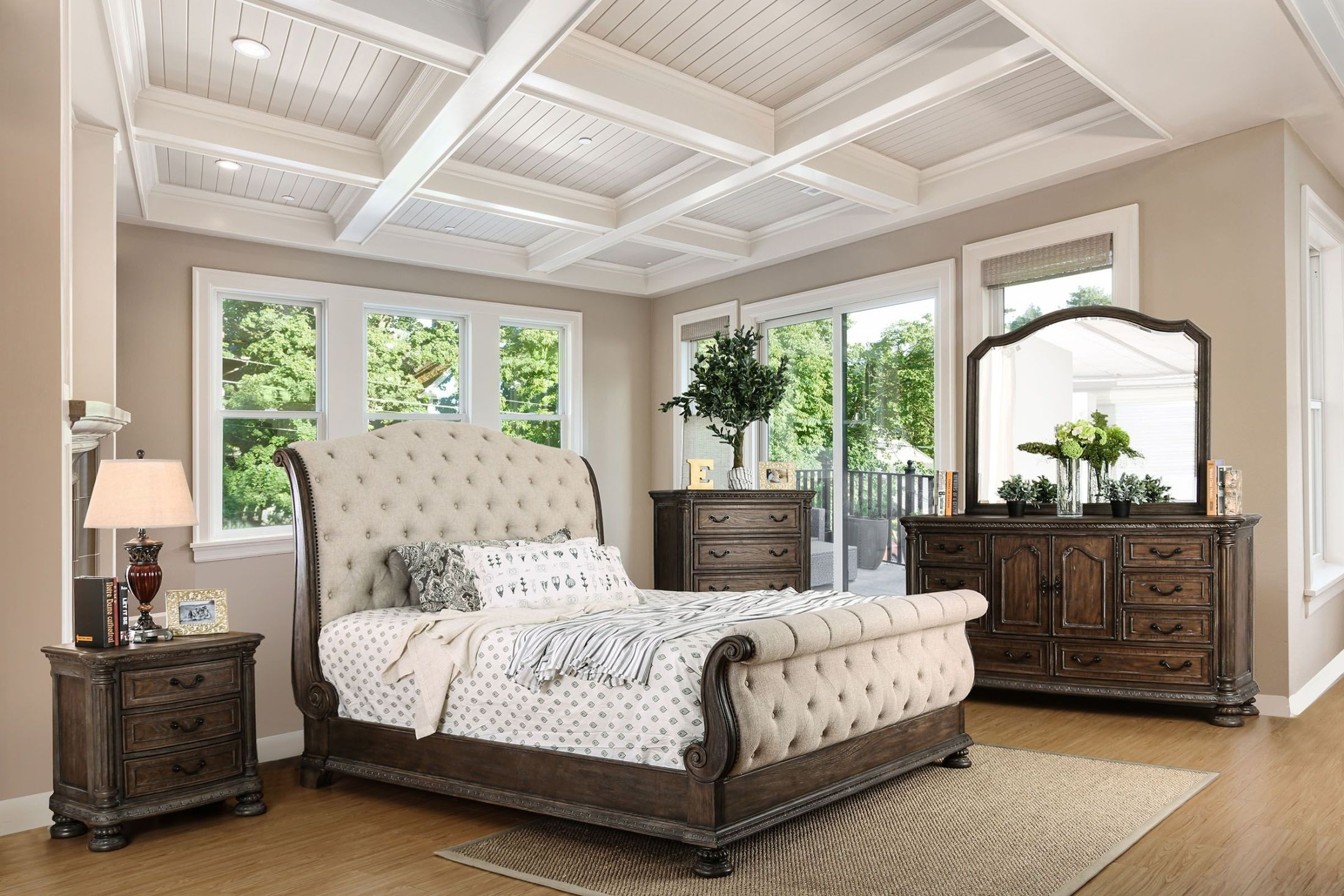 Lysandra rustic natural tone sleigh bedroom set from