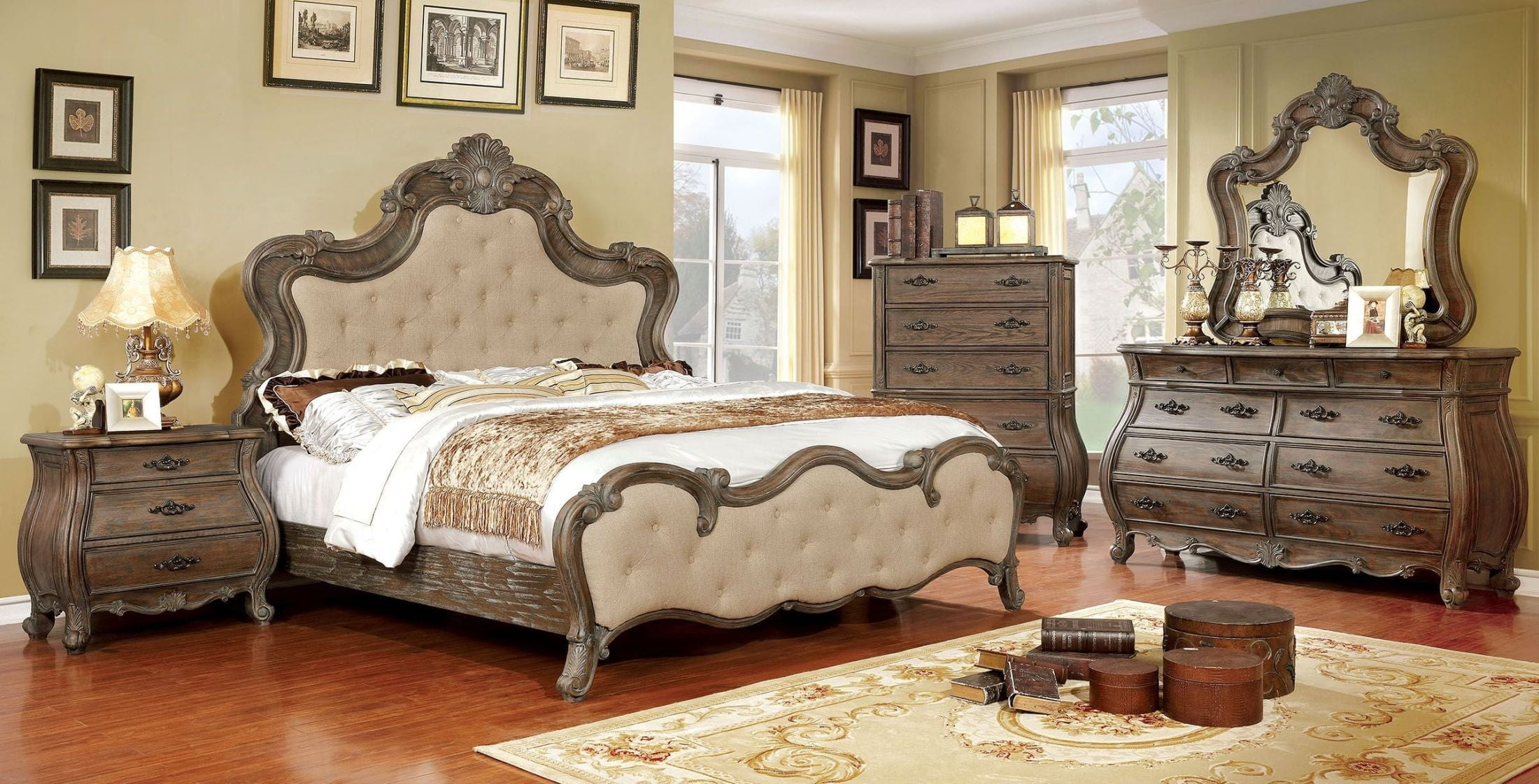 cursa rustic natural panel bedroom set from furniture of america