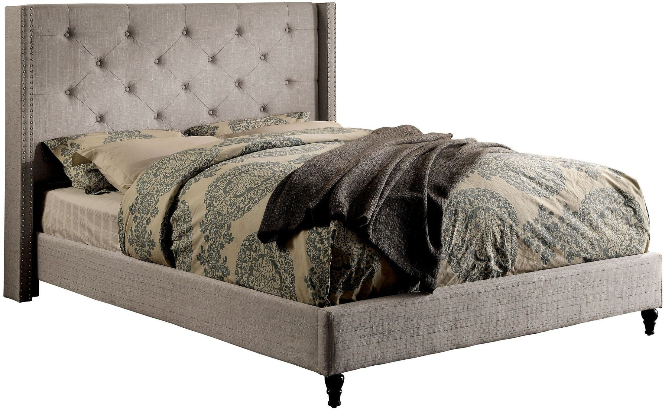 Anabelle warm gray cal king upholstered platform bed from for Furniture of america mattress