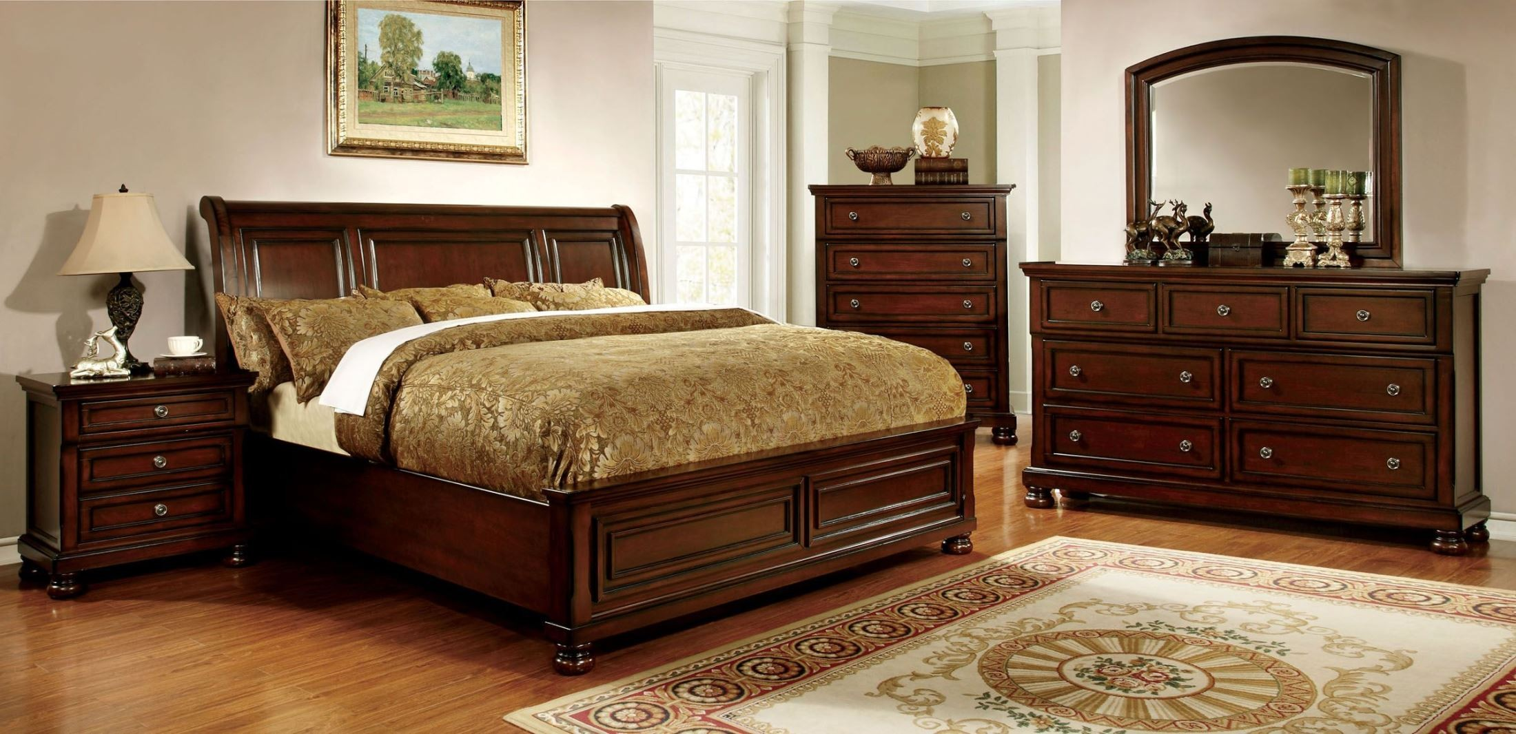 Northville dark cherry bedroom set from furniture of america cm7682q bed coleman furniture for Bedroom furniture washington dc
