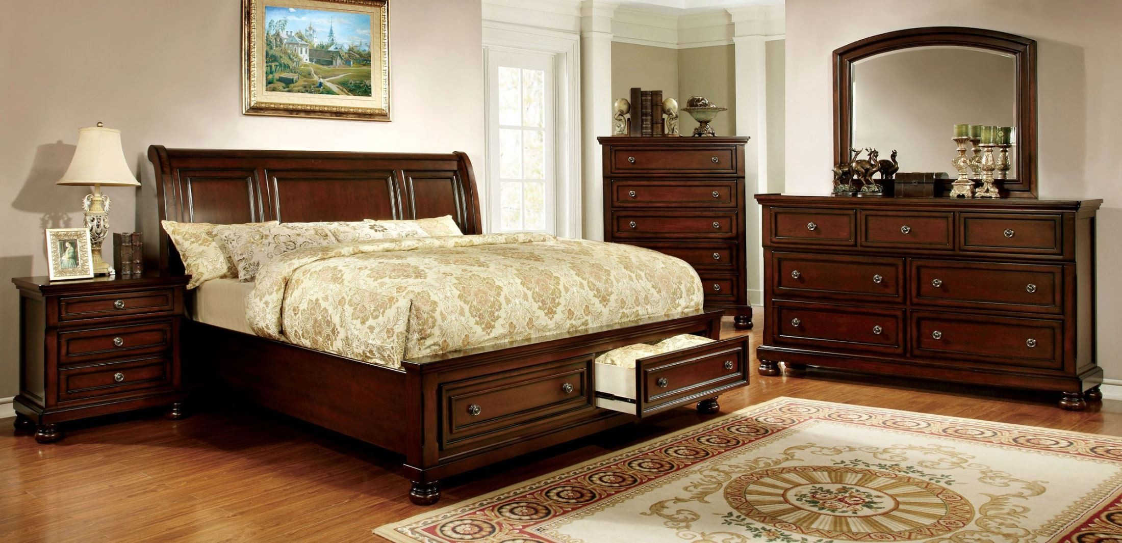 Northville Dark Cherry Platform Storage Bedroom Set from Furniture