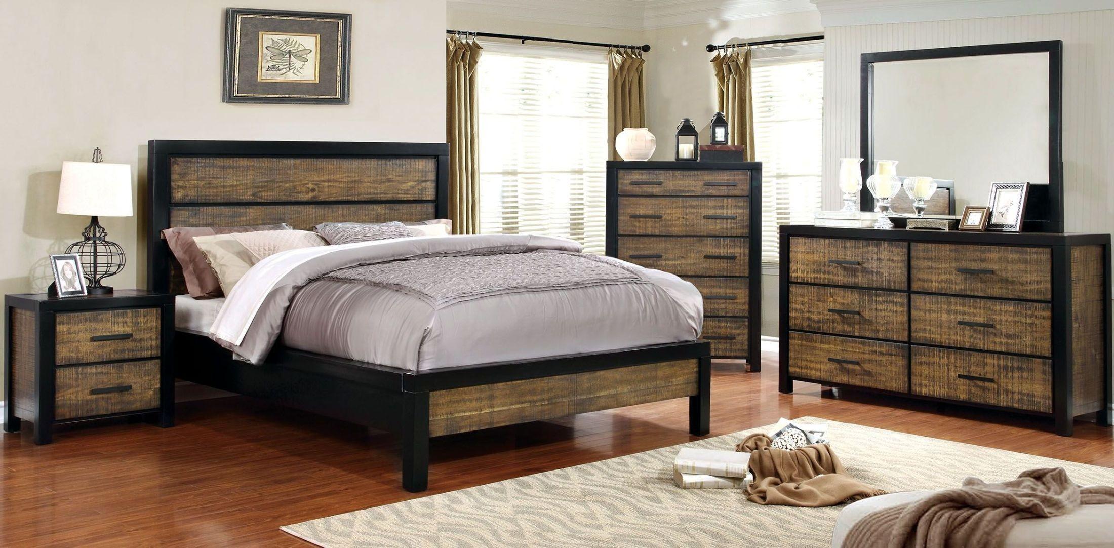 hamberg blacks and oak panel bedroom set from furniture of america coleman furniture. Black Bedroom Furniture Sets. Home Design Ideas
