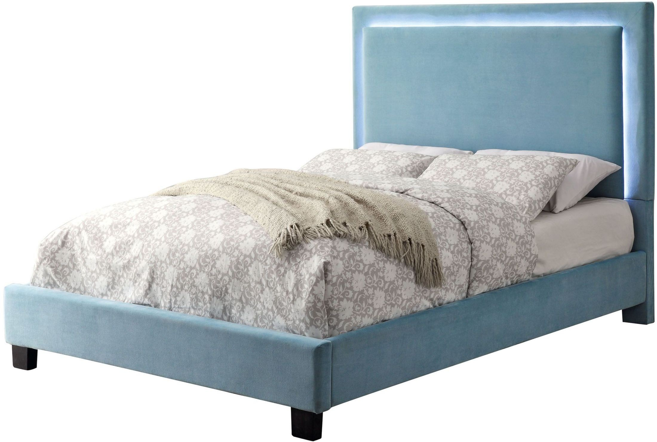Erglow i blue twin upholstered panel bed from furniture of for Panel beds for sale