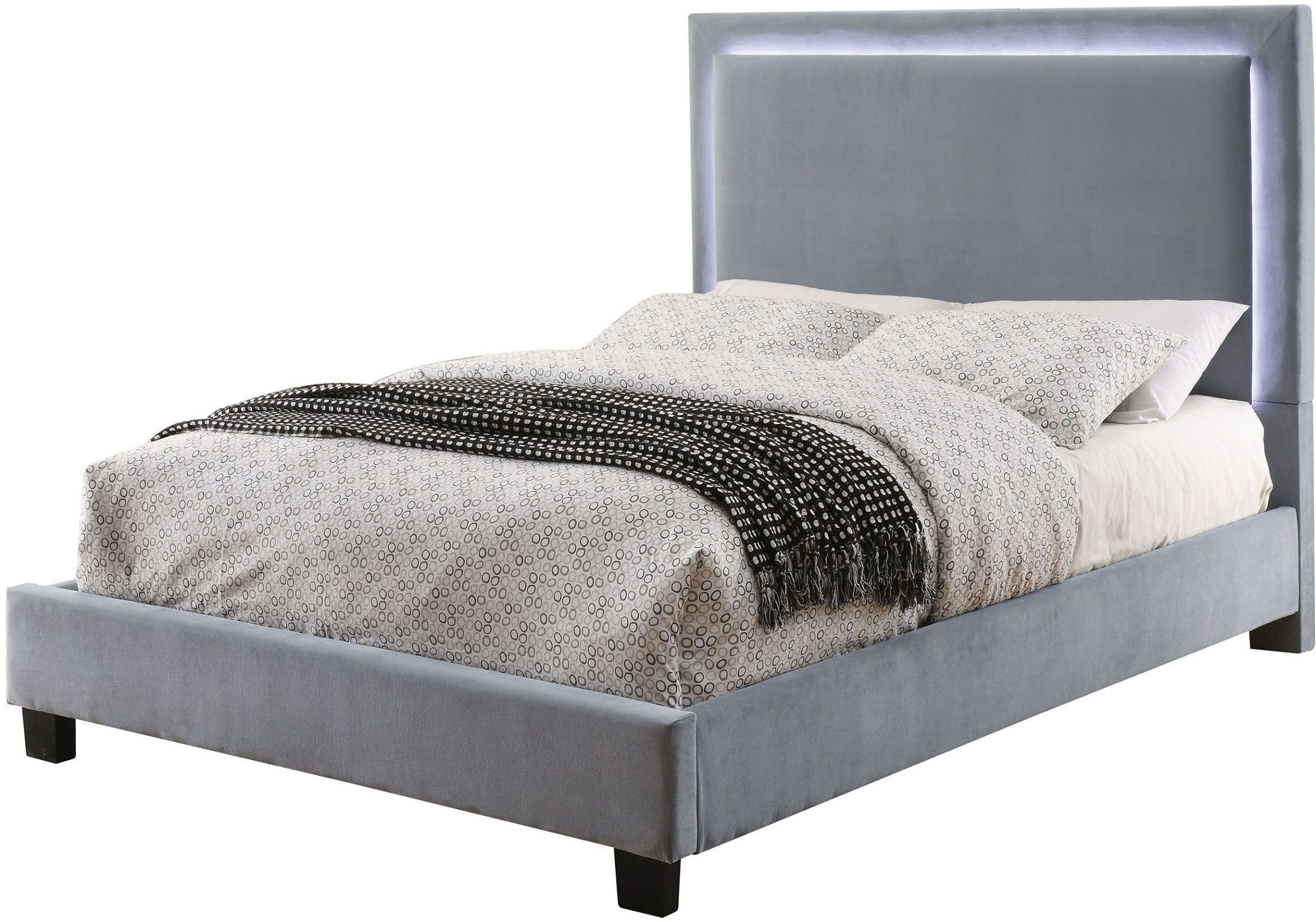 Erglow i gray cal king upholstered panel bed from for Panel beds for sale