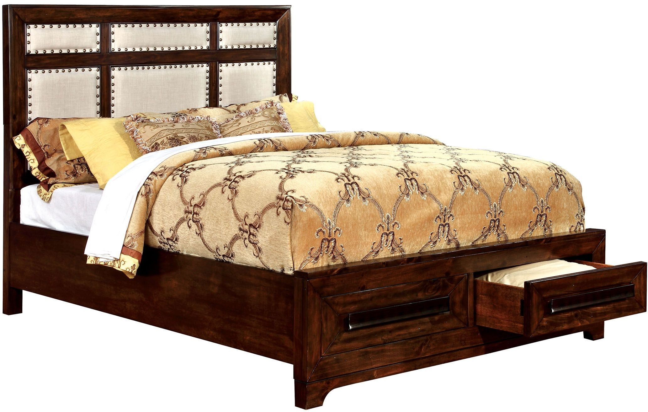 Orlaith walnut king panel storage bed from furniture of for Furniture of america mattress