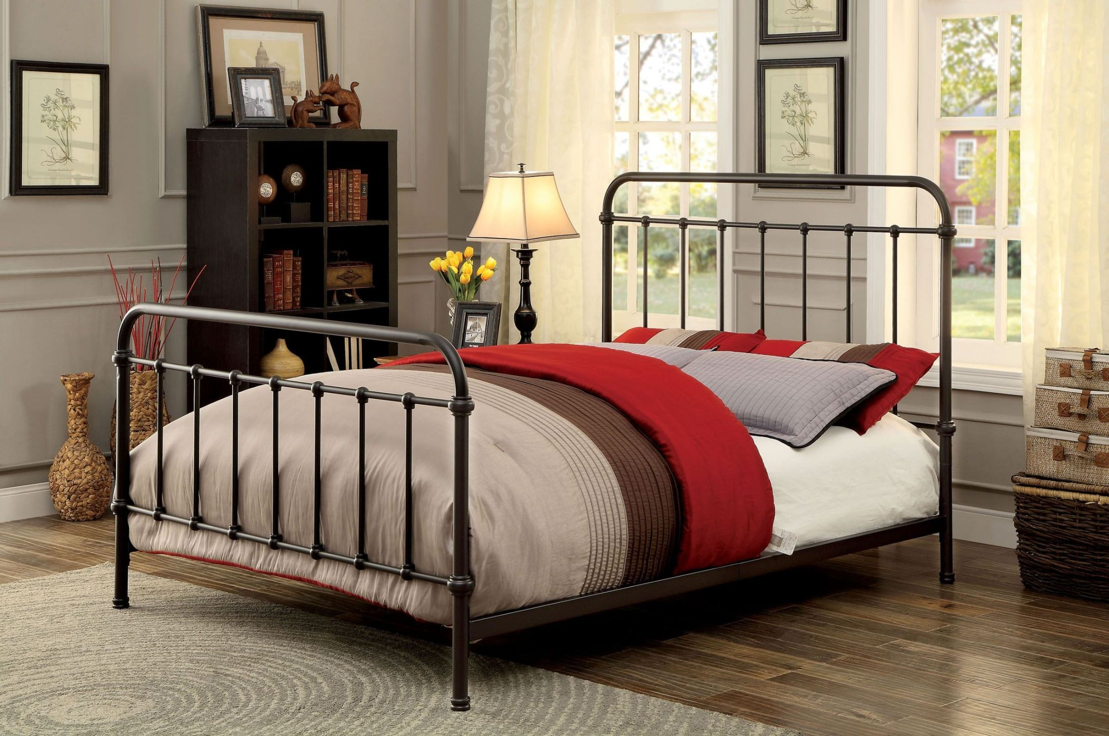 Iria Dark Bronze Metal Queen Panel Bed From Furniture Of