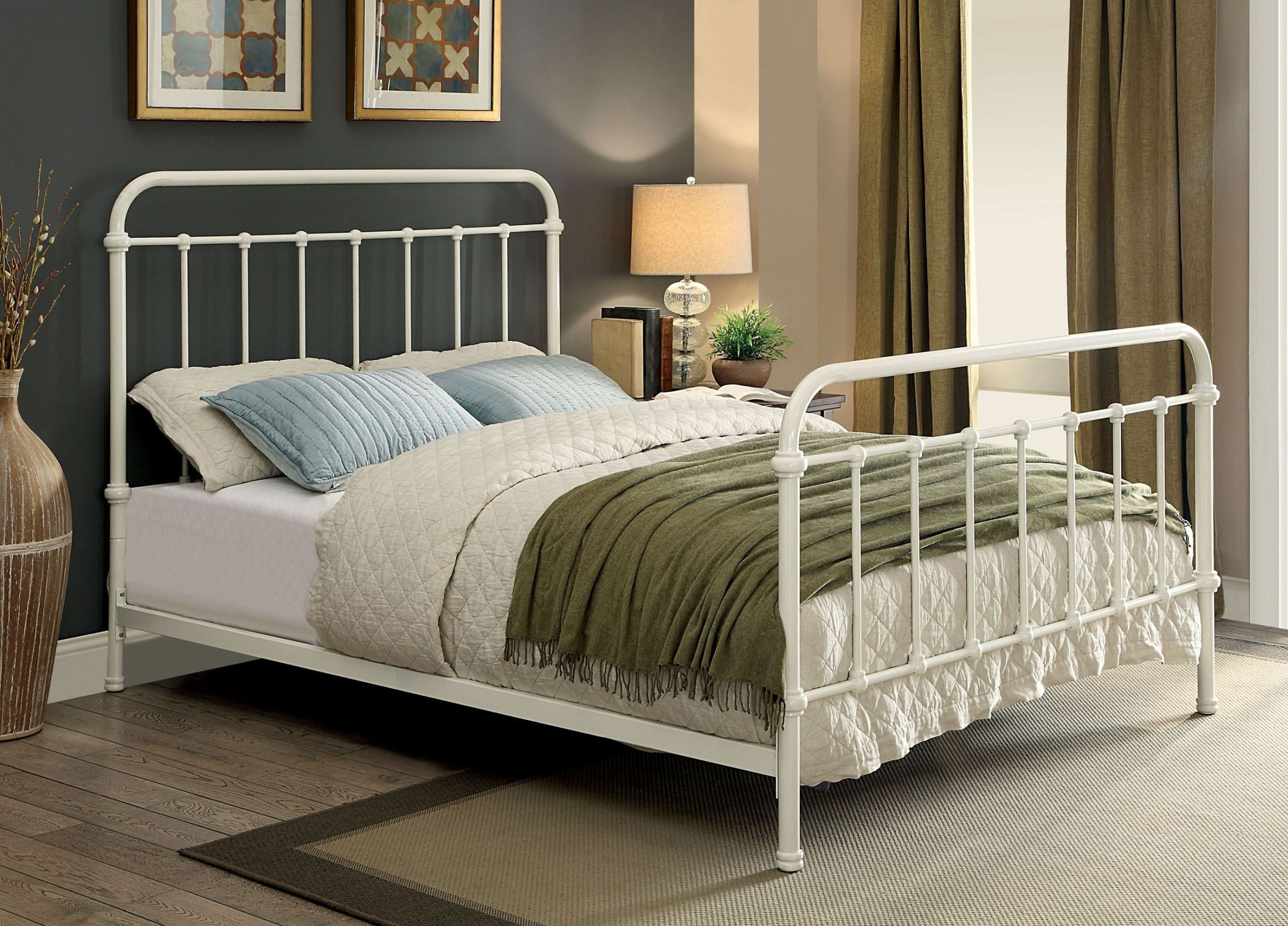 Iria White Metal Queen Panel Bed From Furniture Of America Cm7701wh Q Coleman Furniture