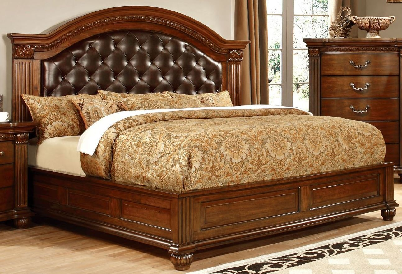 Grandom cherry leatherette king bed from furniture of for Furniture of america king bed