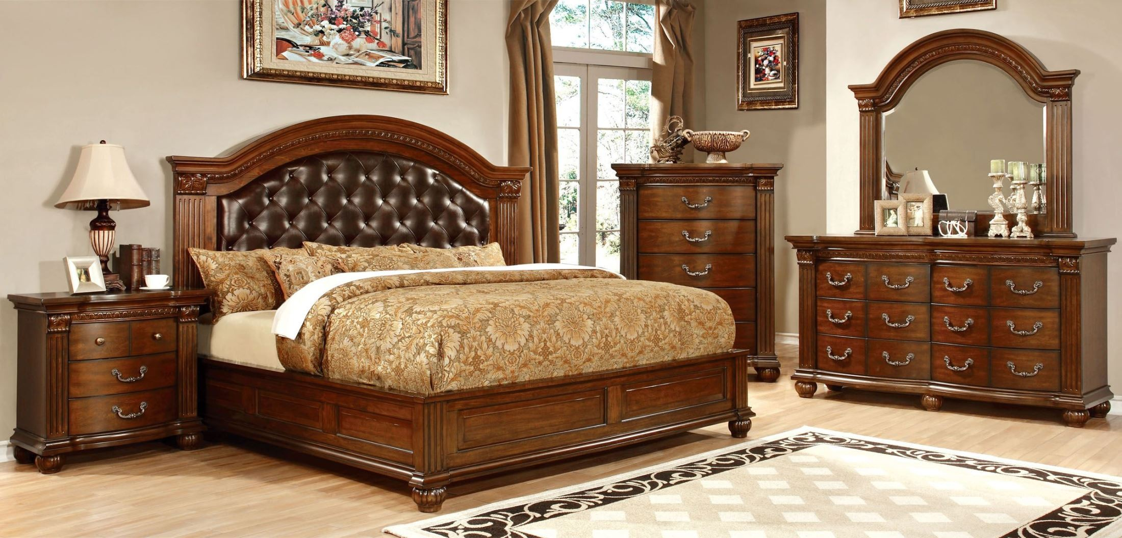 Grandom cherry leatherette bedroom set from furniture of america cm7735q bed coleman furniture for Bedroom furniture washington dc