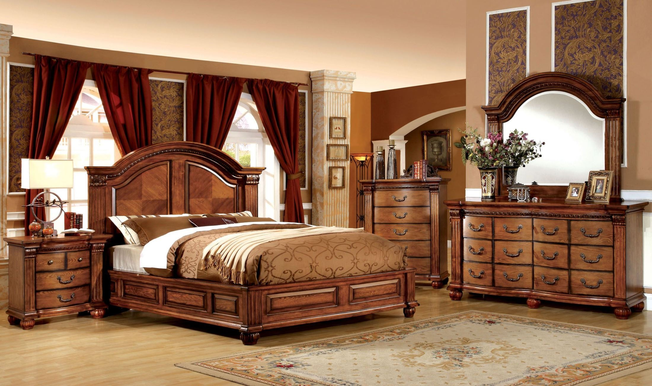 bellagrand antique tobacco oak bedroom set from furniture of america cm7738q bed coleman furniture - Antique Bedroom Sets