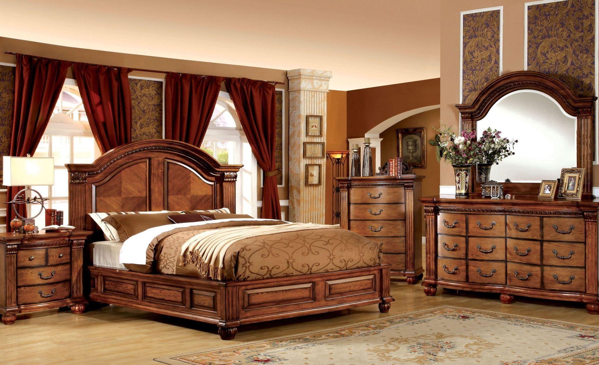 Bellagrand Antique Tobacco Oak Bedroom Set From Furniture Of America Cm7738q Bed Coleman