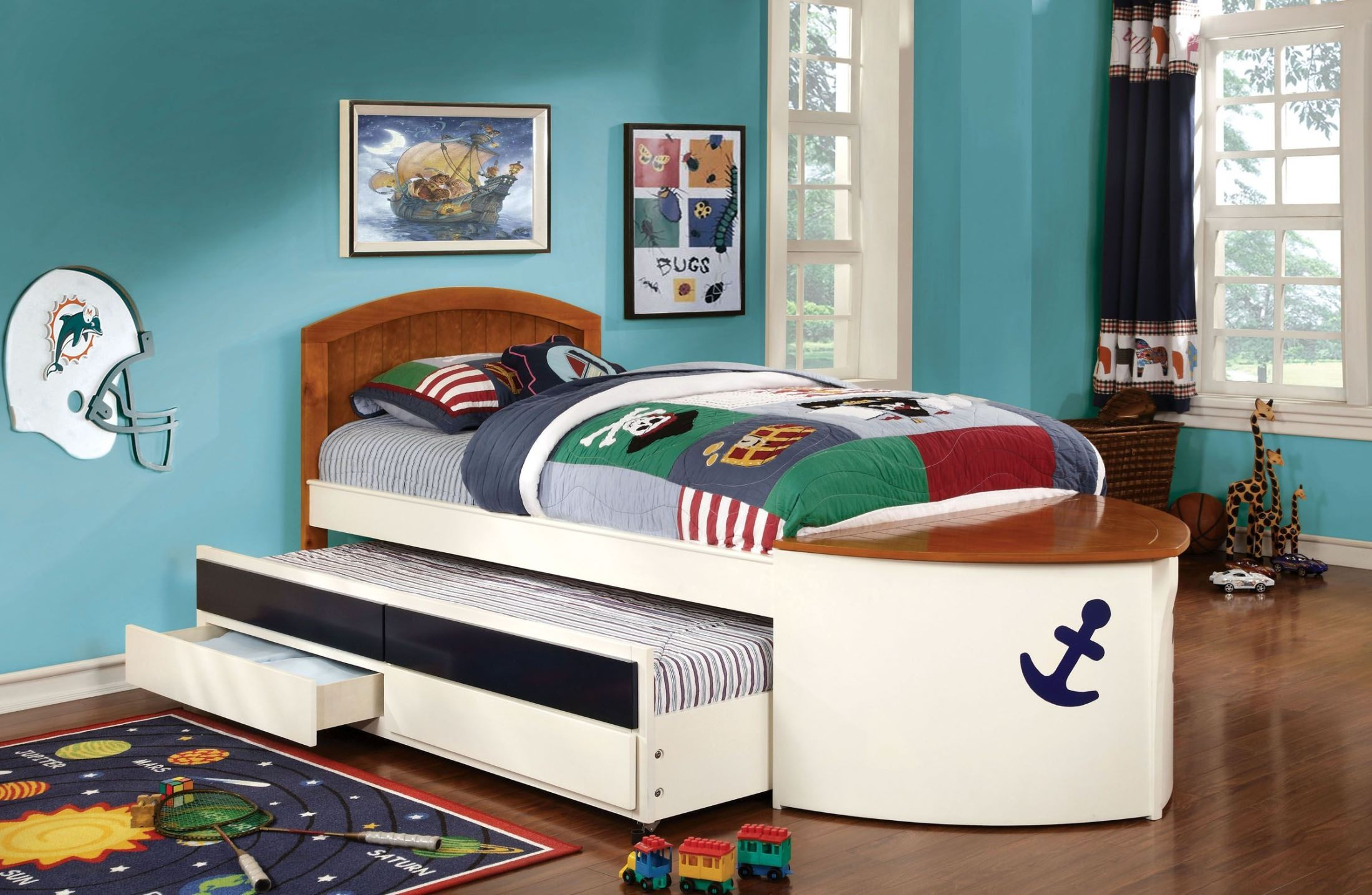 Voyager Twin Trundle Storage Bed From Furniture Of America
