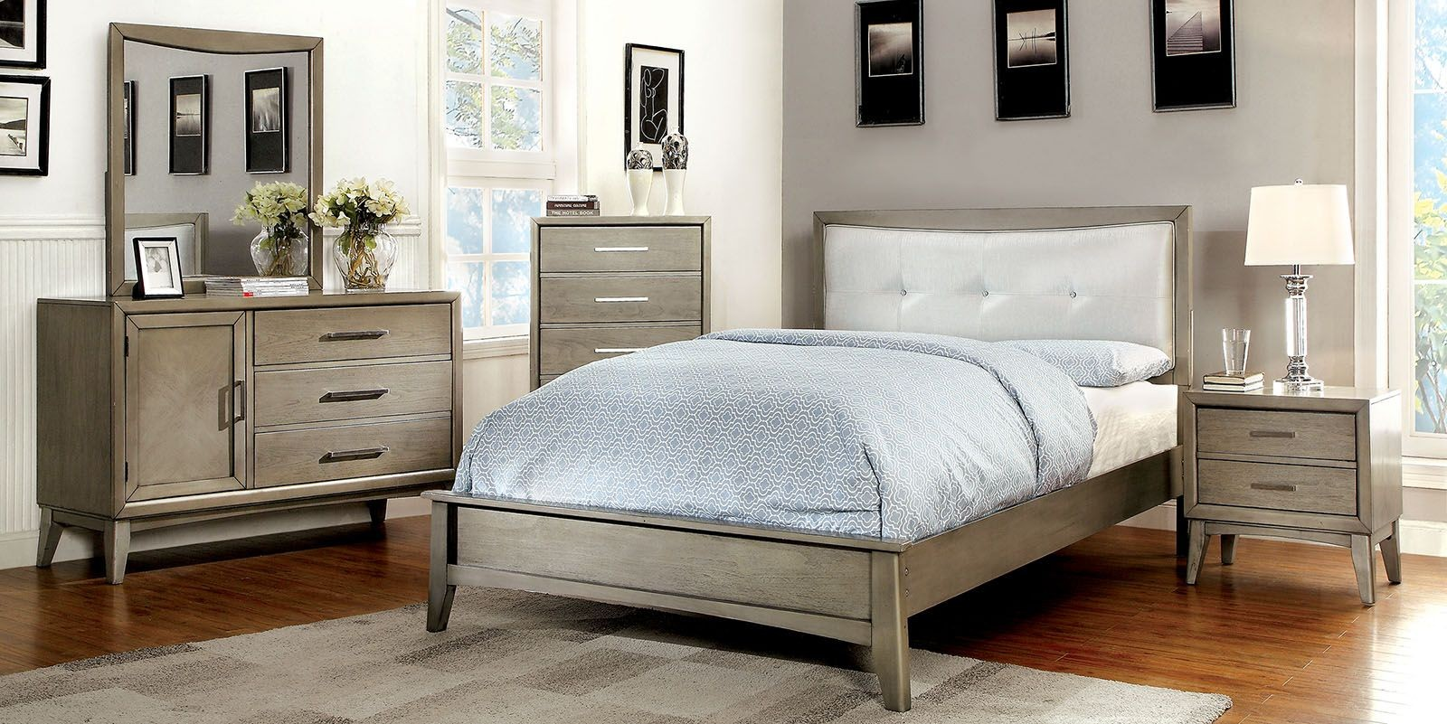 Snyder Ii Gray Youth Upholstered Bedroom Set From Furniture Of America Coleman Furniture