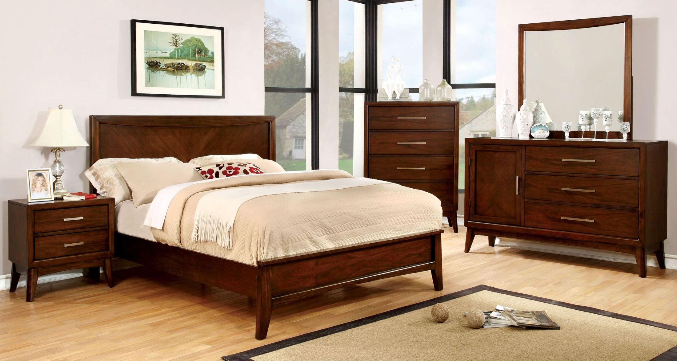 Snyder Brown Cherry Panel Bedroom Set From Furniture Of America Cm7792q Bed Coleman Furniture