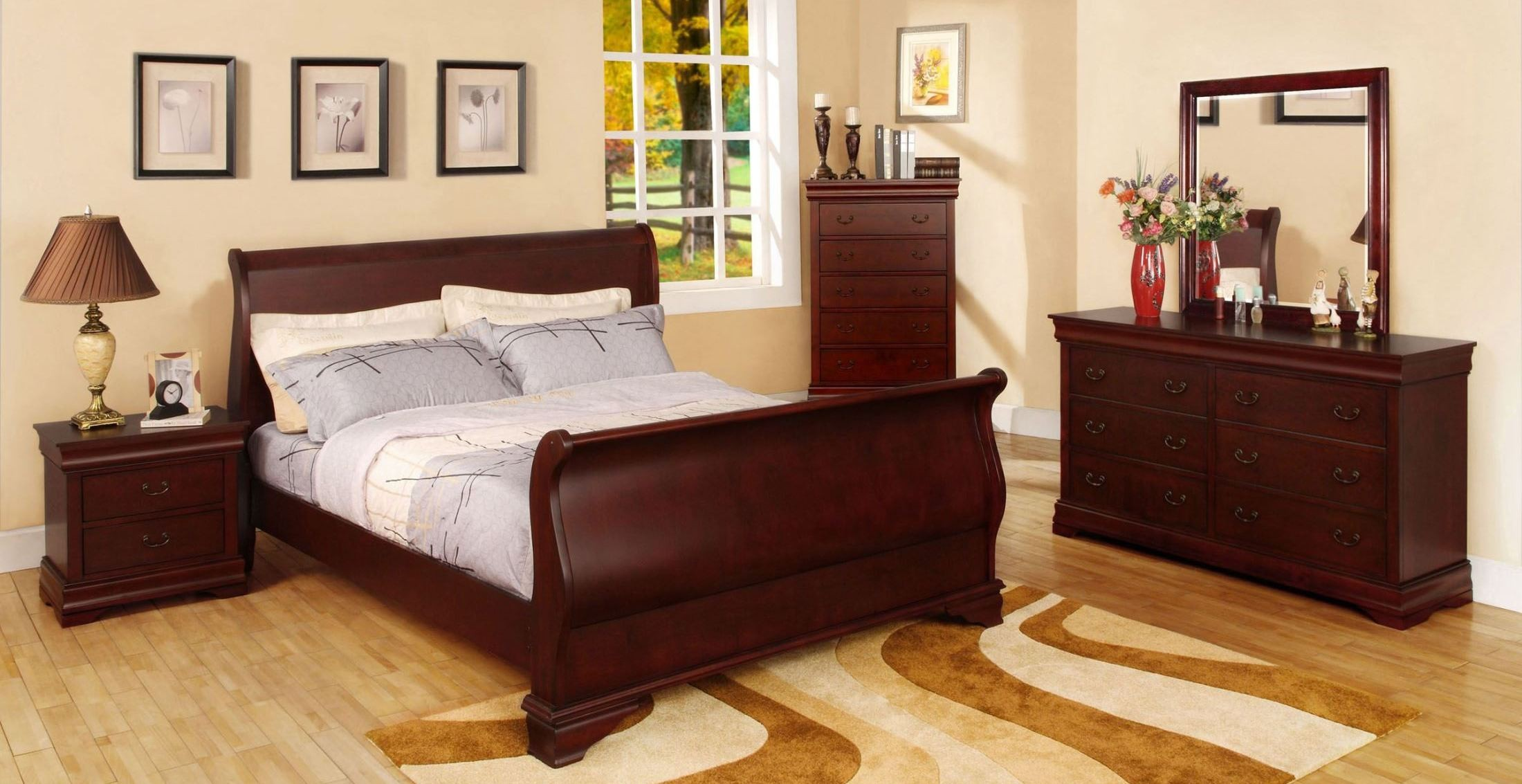 Laurelle Cherry Sleigh Bedroom Set from Furniture of America CM7815Q BED