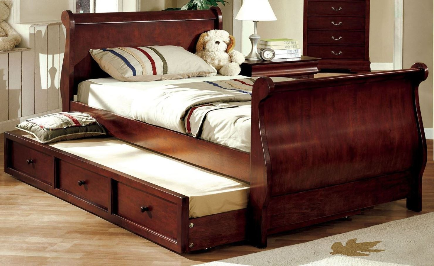 Louis philippe jr dark cherry twin trundle sleigh bed for Furniture of america