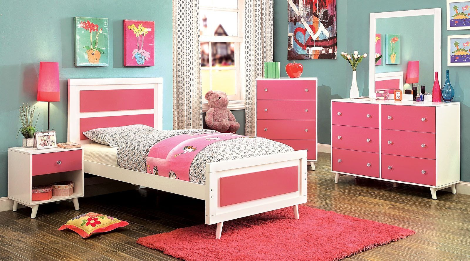 alivia youth pink and white platform bedroom set cm7850pk 19464 | cm7850pk 1