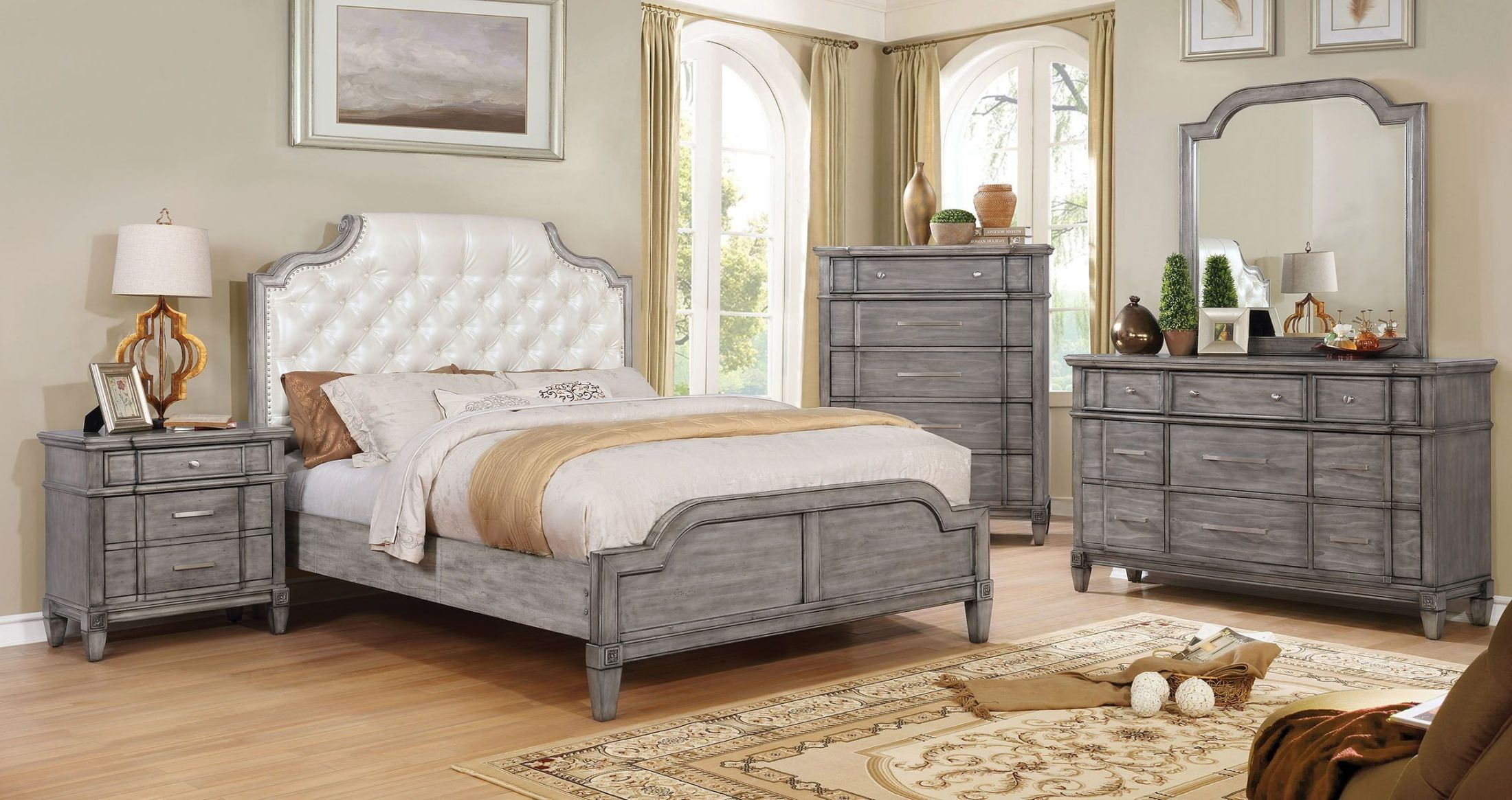 ganymede upholstered panel bedroom set from furniture of america coleman furniture. Black Bedroom Furniture Sets. Home Design Ideas