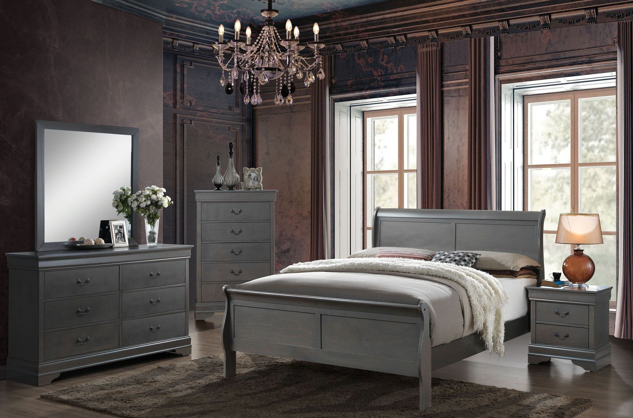 Louis Philippe Iii Gray Youth Sleigh Bedroom Set From Furniture Of America Coleman Furniture