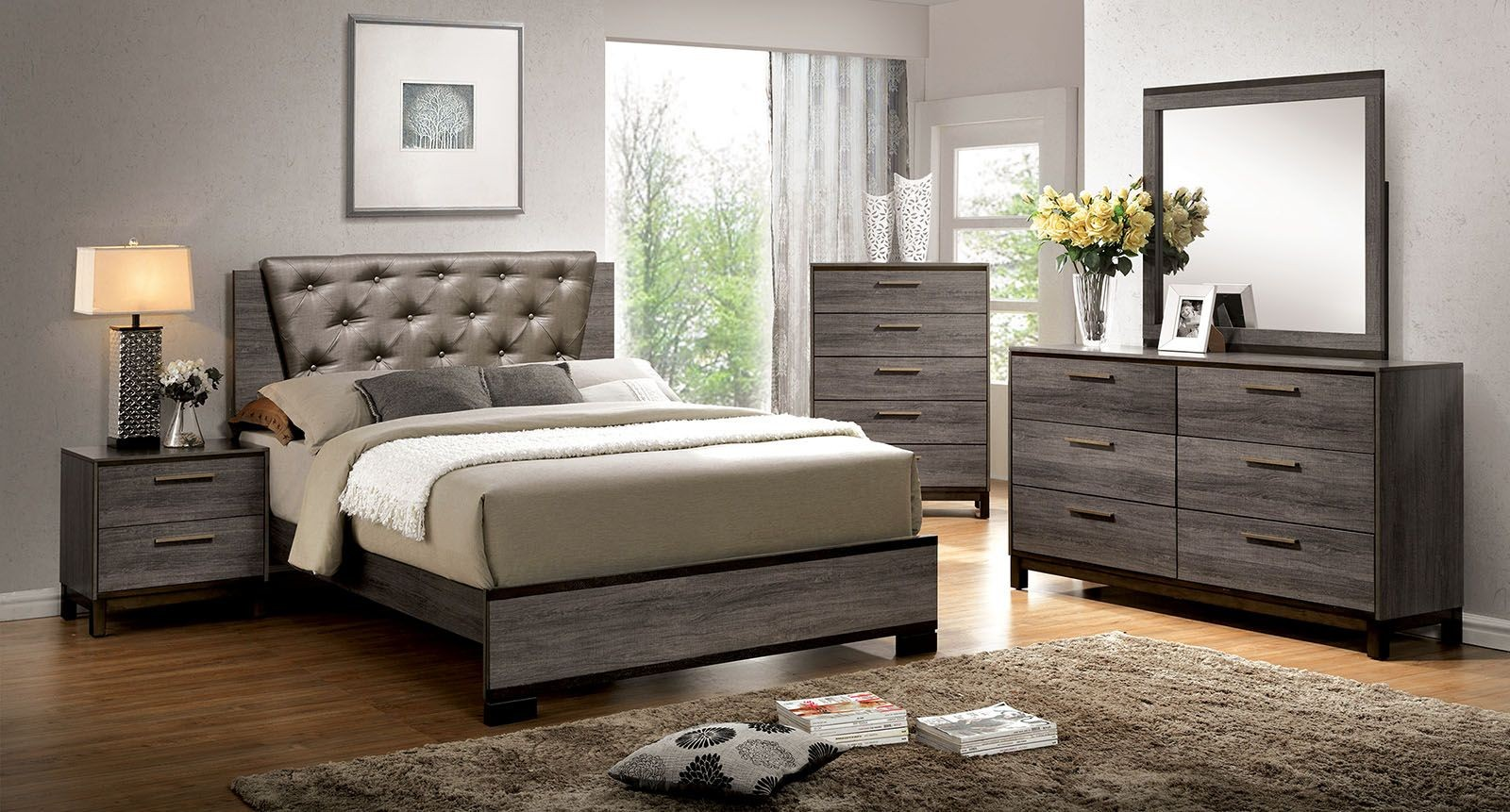 Manvel Dark Gray Upholstered Bedroom Set From Furniture Of