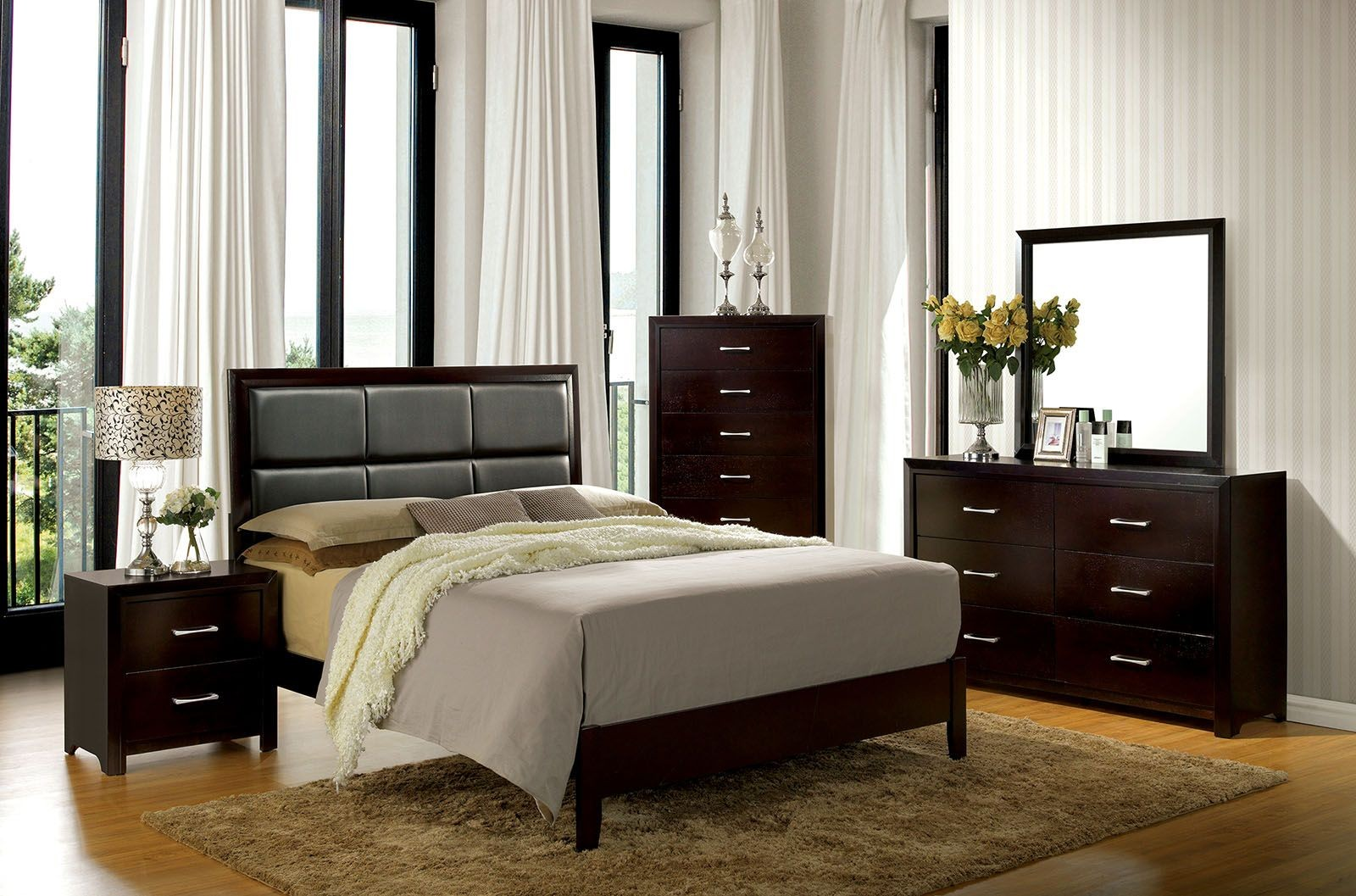 upholstered bedroom furniture espresso youth upholstered platform bedroom set 13696