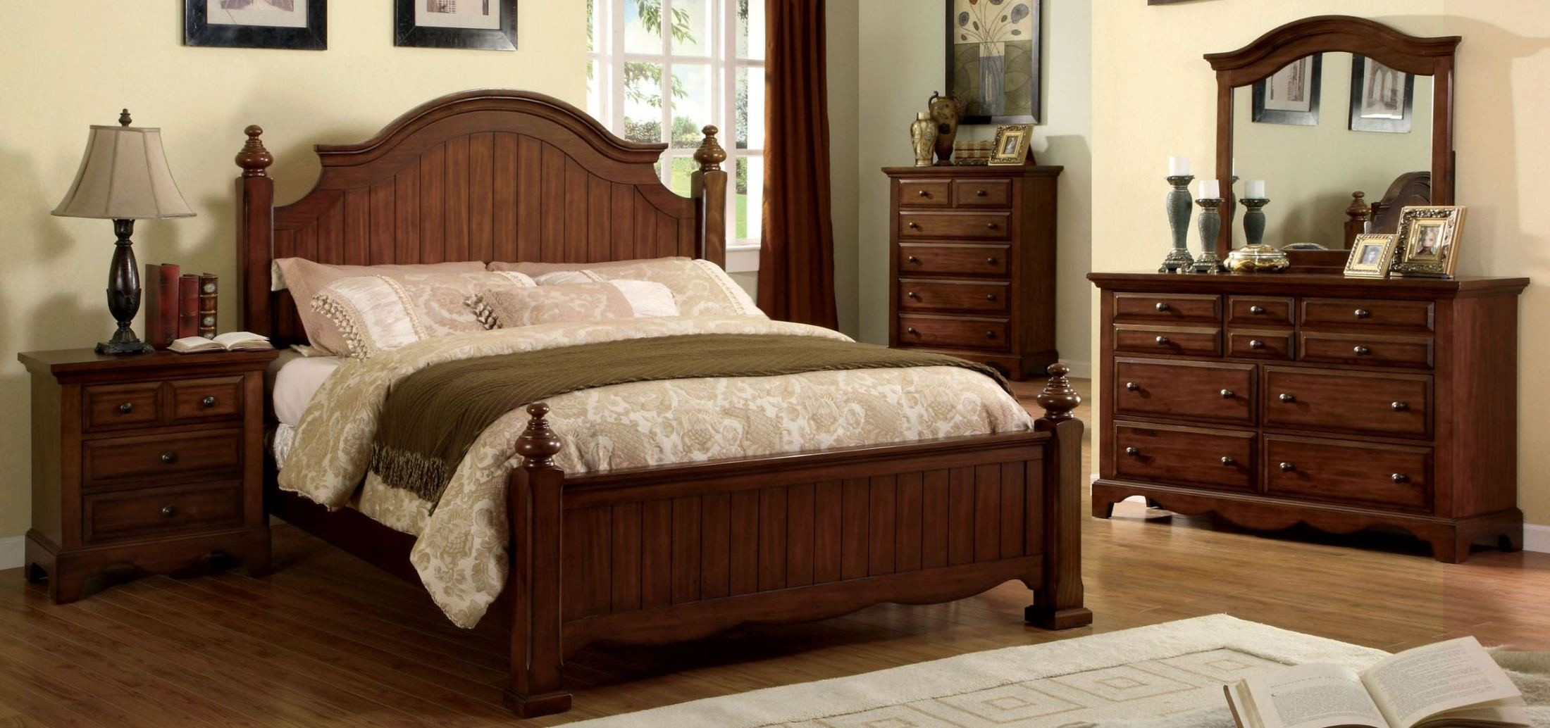 walnut bedroom furniture palm coast light walnut panel bedroom set from furniture 13785