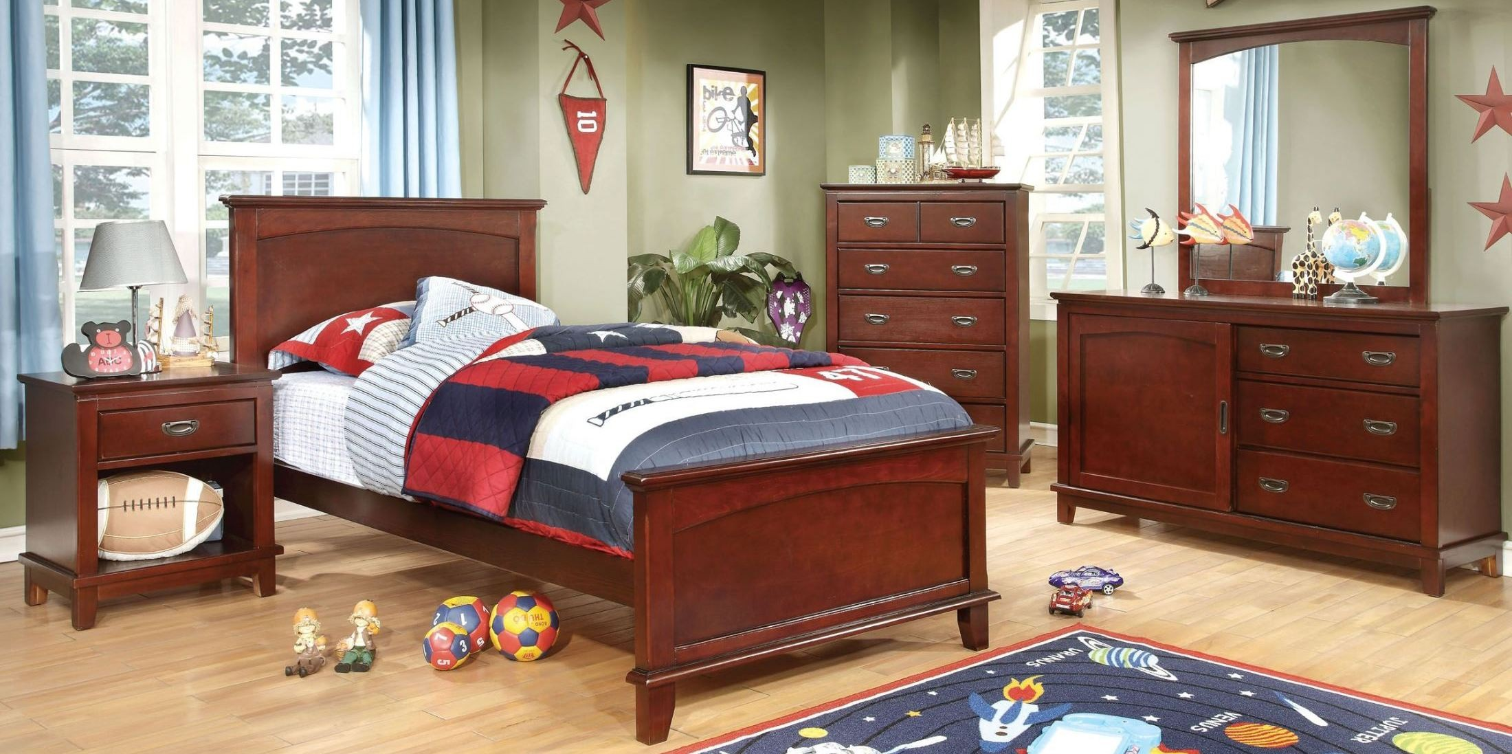 Colin cherry youth panel bedroom set from furniture of for Youth bedroom furniture