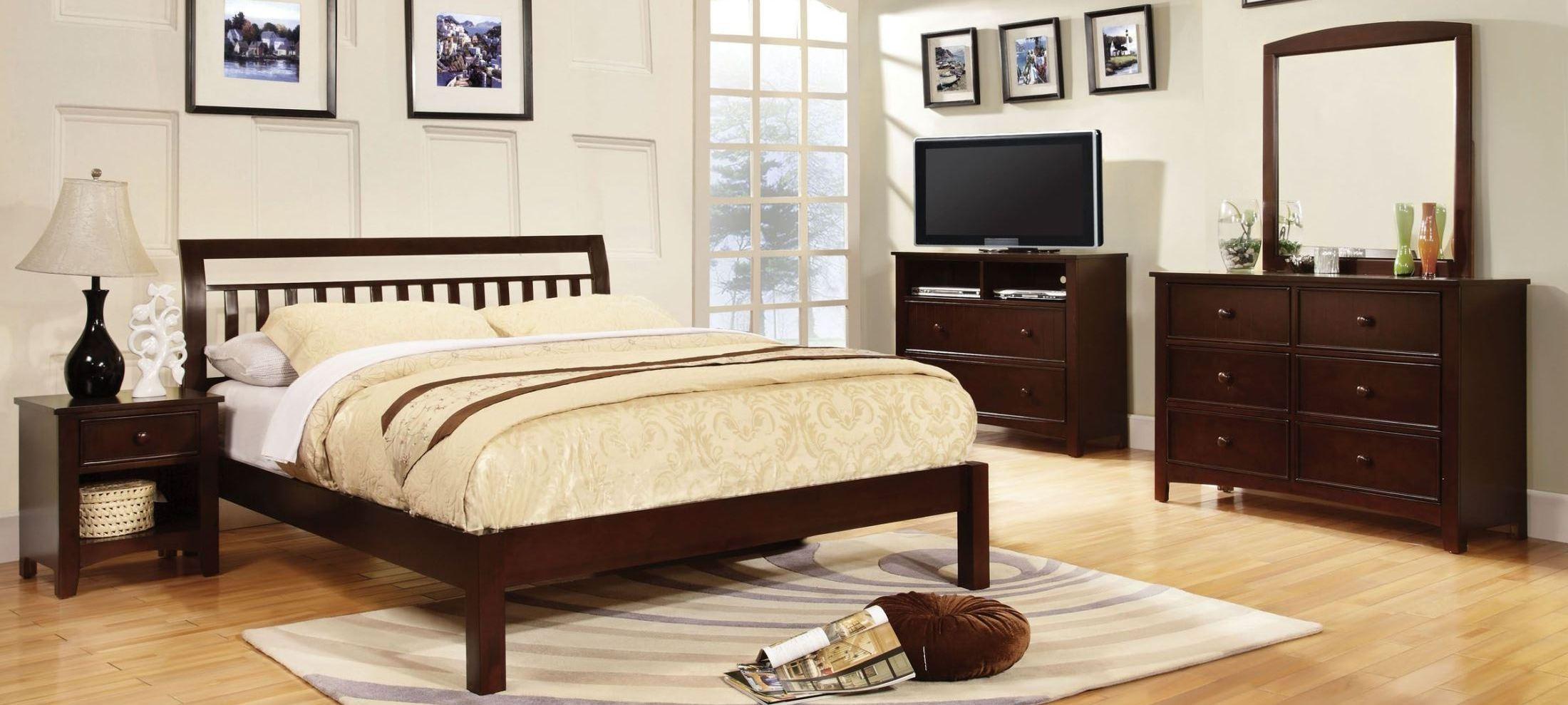 Corry dark walnut platform bedroom set from furniture of for Walnut bedroom furniture