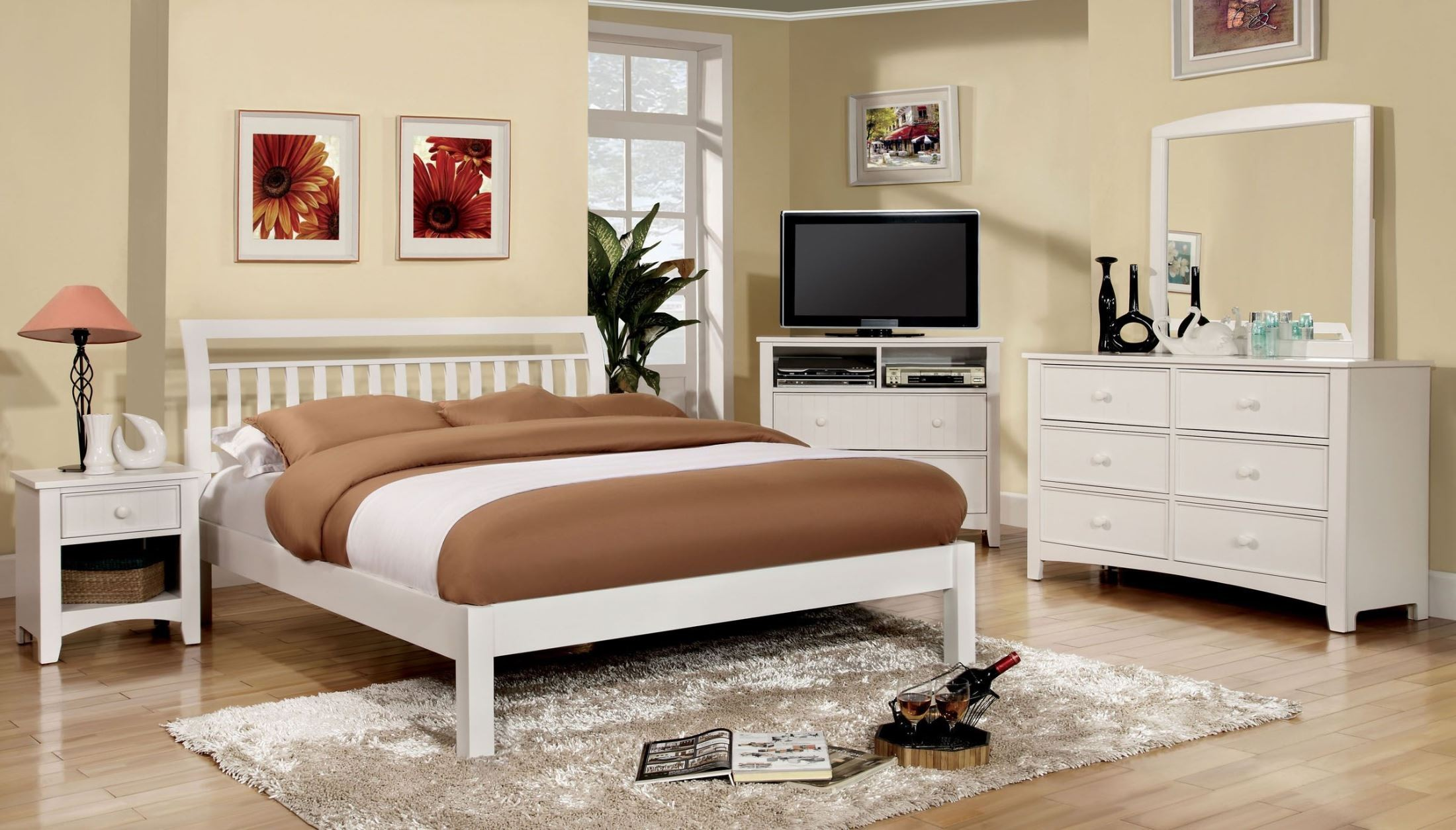 Corry white platform bedroom set from furniture of america cm7923wh q bed coleman furniture - America bedroom furniture ...