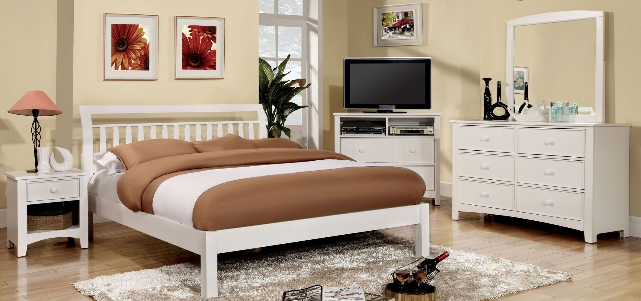 Corry White Youth Platform Bedroom Set From Furniture Of America Cm7923wh F Bed Coleman