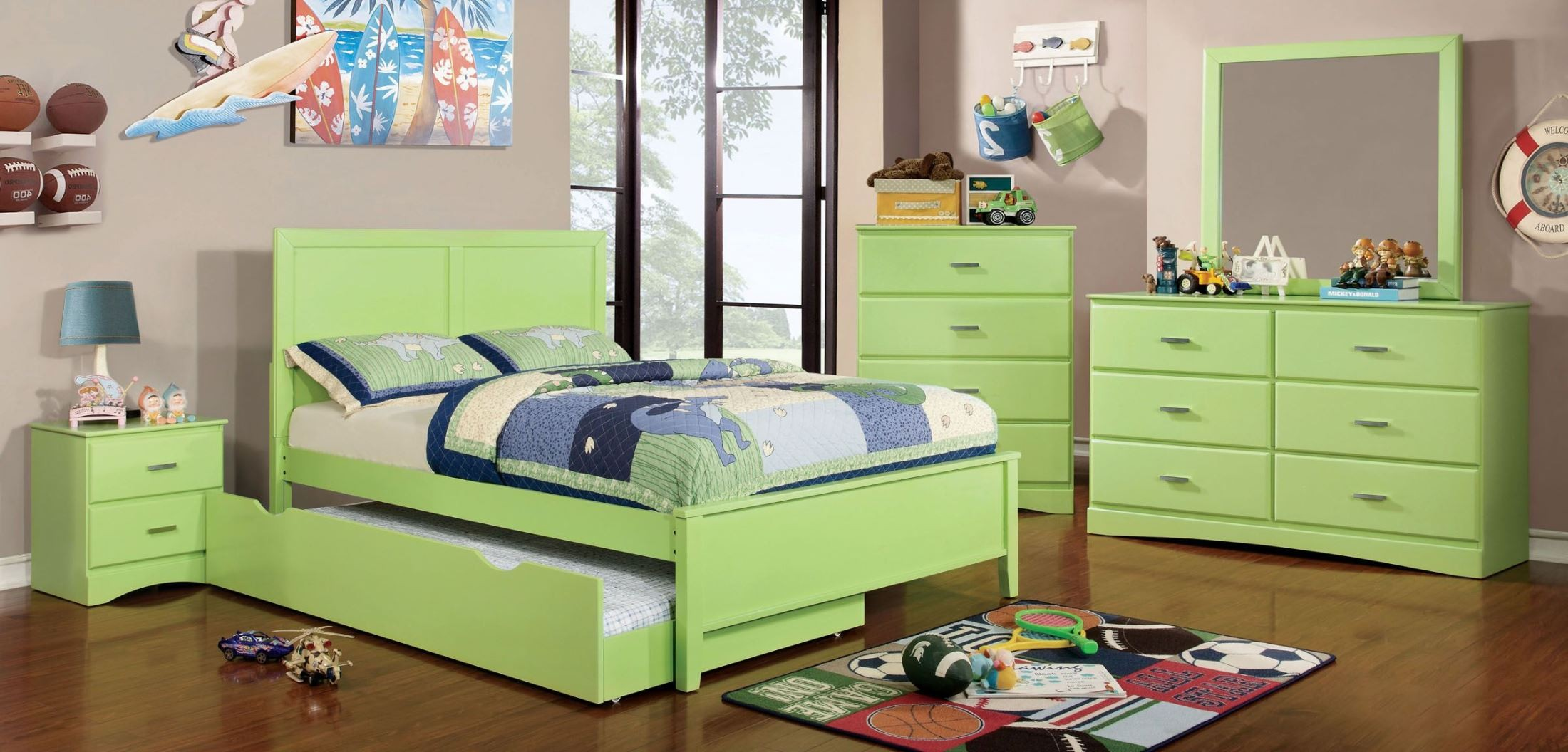 Prismo Green Youth Platform Bedroom Set From Furniture Of