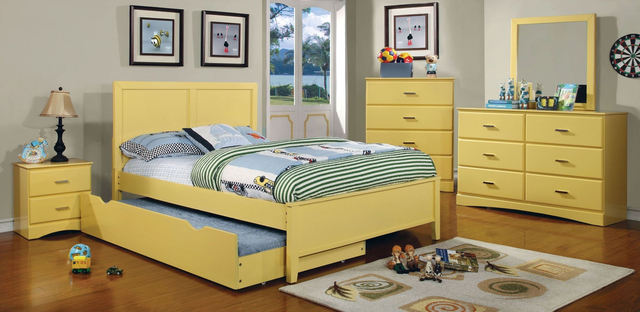 prismo yellow youth platform bedroom set from furniture of 13888 | cm7941yw