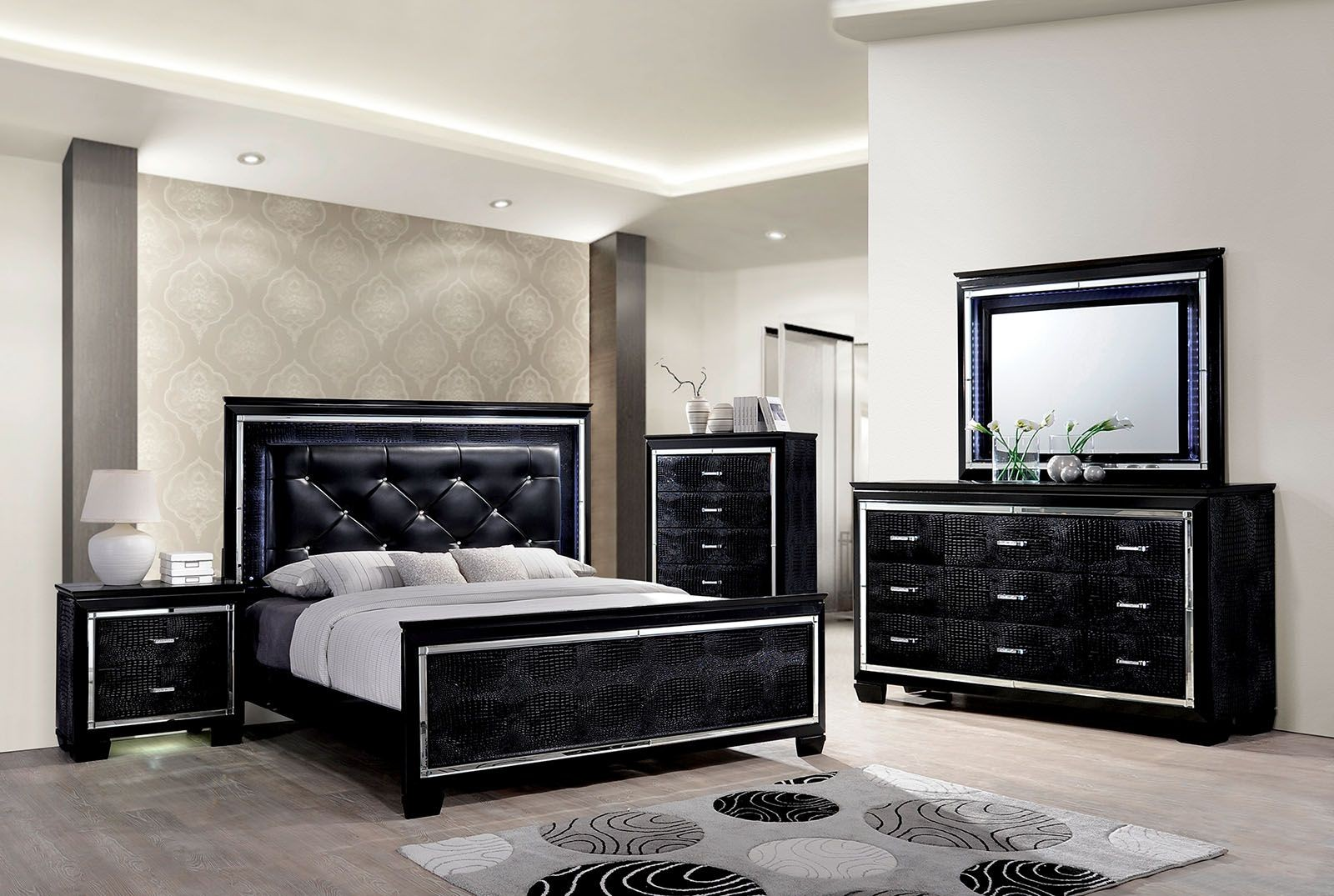 Bellanova black upholstered panel bedroom set from for Decoracion de recamaras modernas