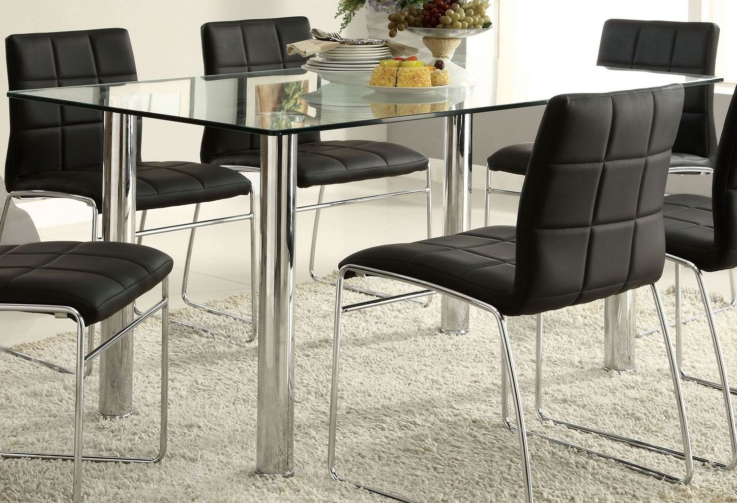 oahu glass top rectangular leg dining room set from furniture of america cm8319t table. Black Bedroom Furniture Sets. Home Design Ideas