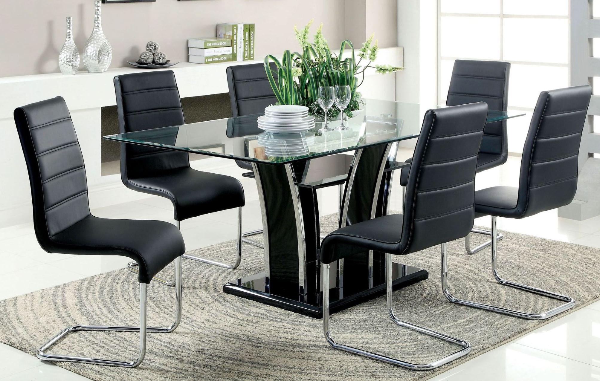 Glass Dining Table Set For 2: Glenview Black Glass Top Dining Room Set From Furniture Of