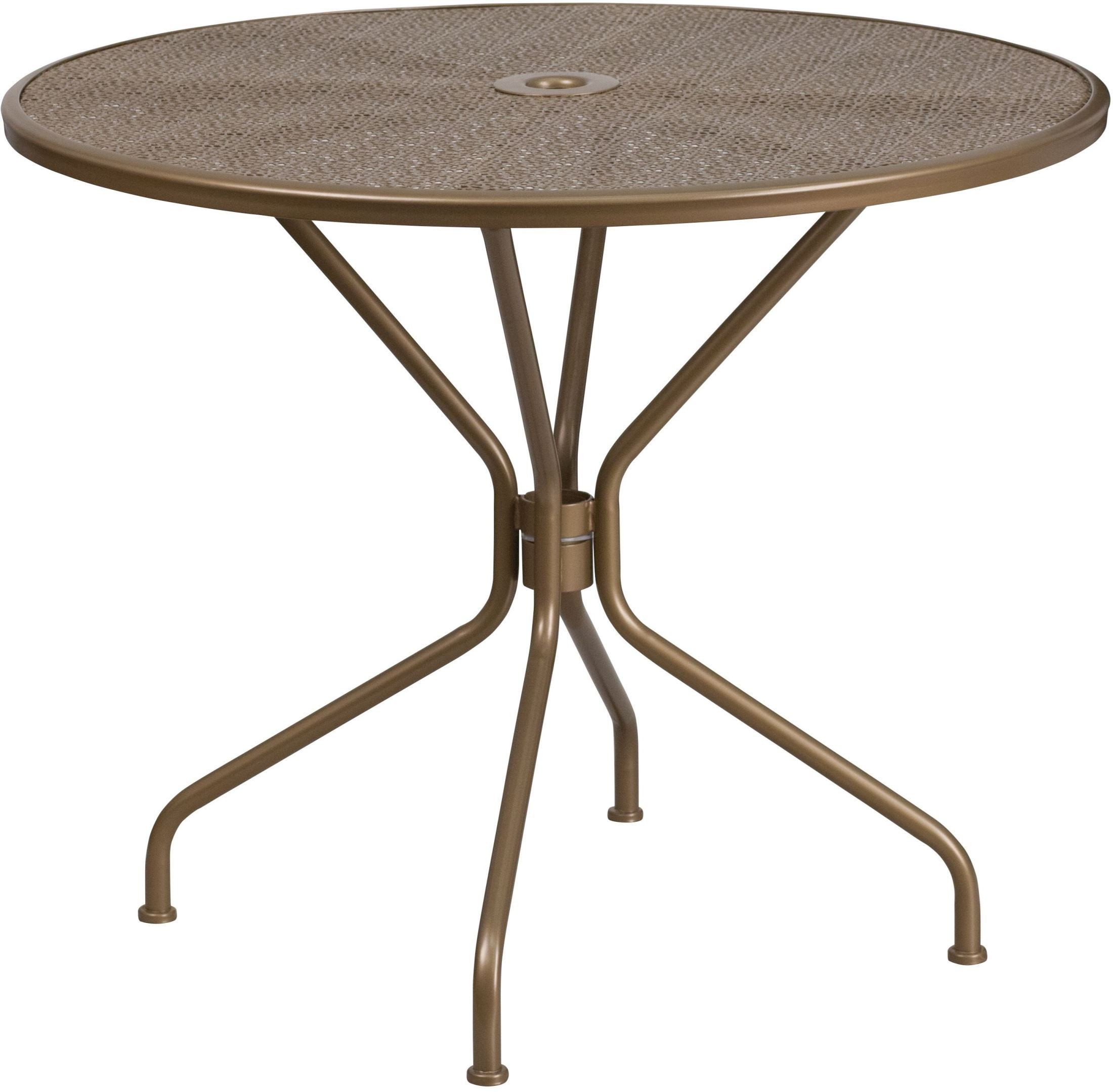Round gold indoor outdoor steel patio table from for Outdoor round table tops for sale