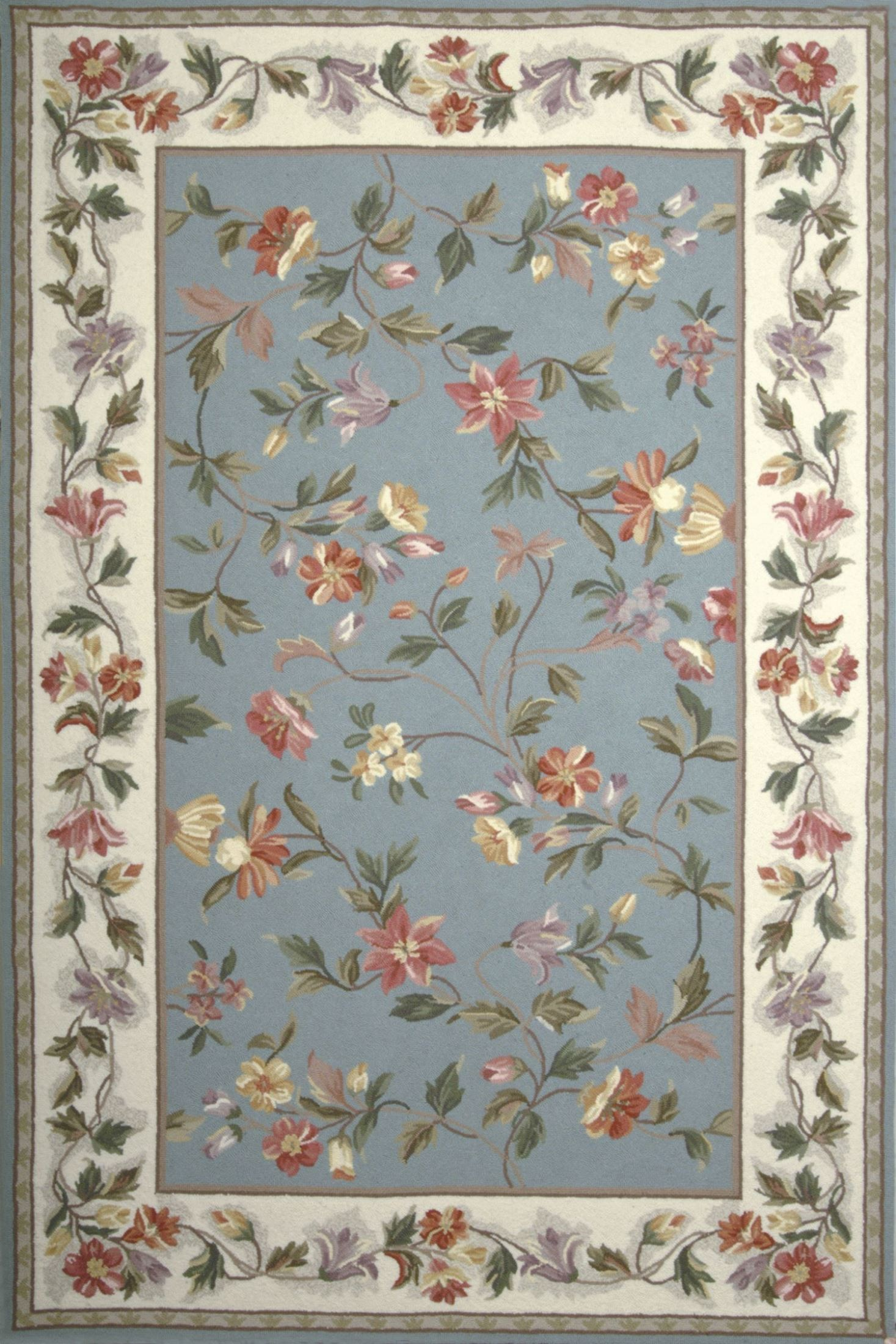 Colonial Slate Blue And Ivory Floral 90 Quot X 90 Quot Rug From