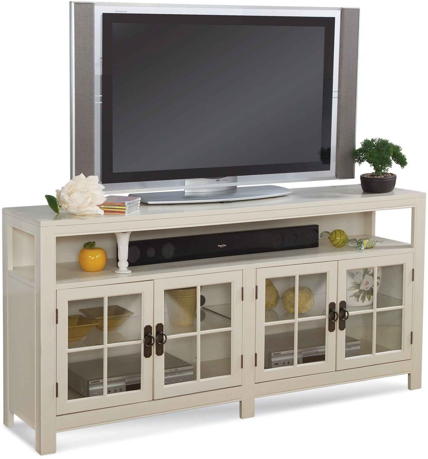 Color time saybrook sandshell white tv console from philip White tv console