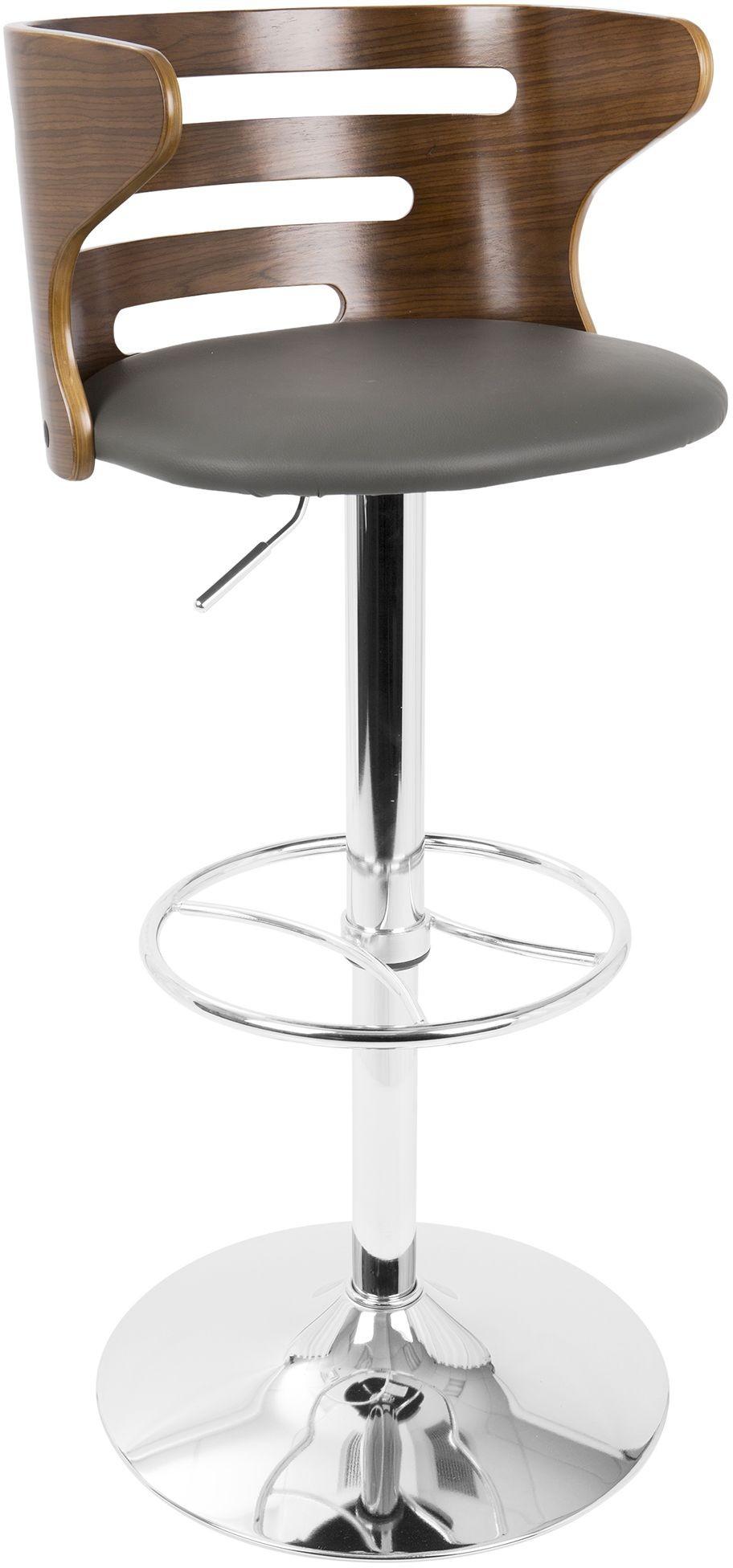 Cosi Walnut And Gray Adjustable Swivel Barstool Set Of 2