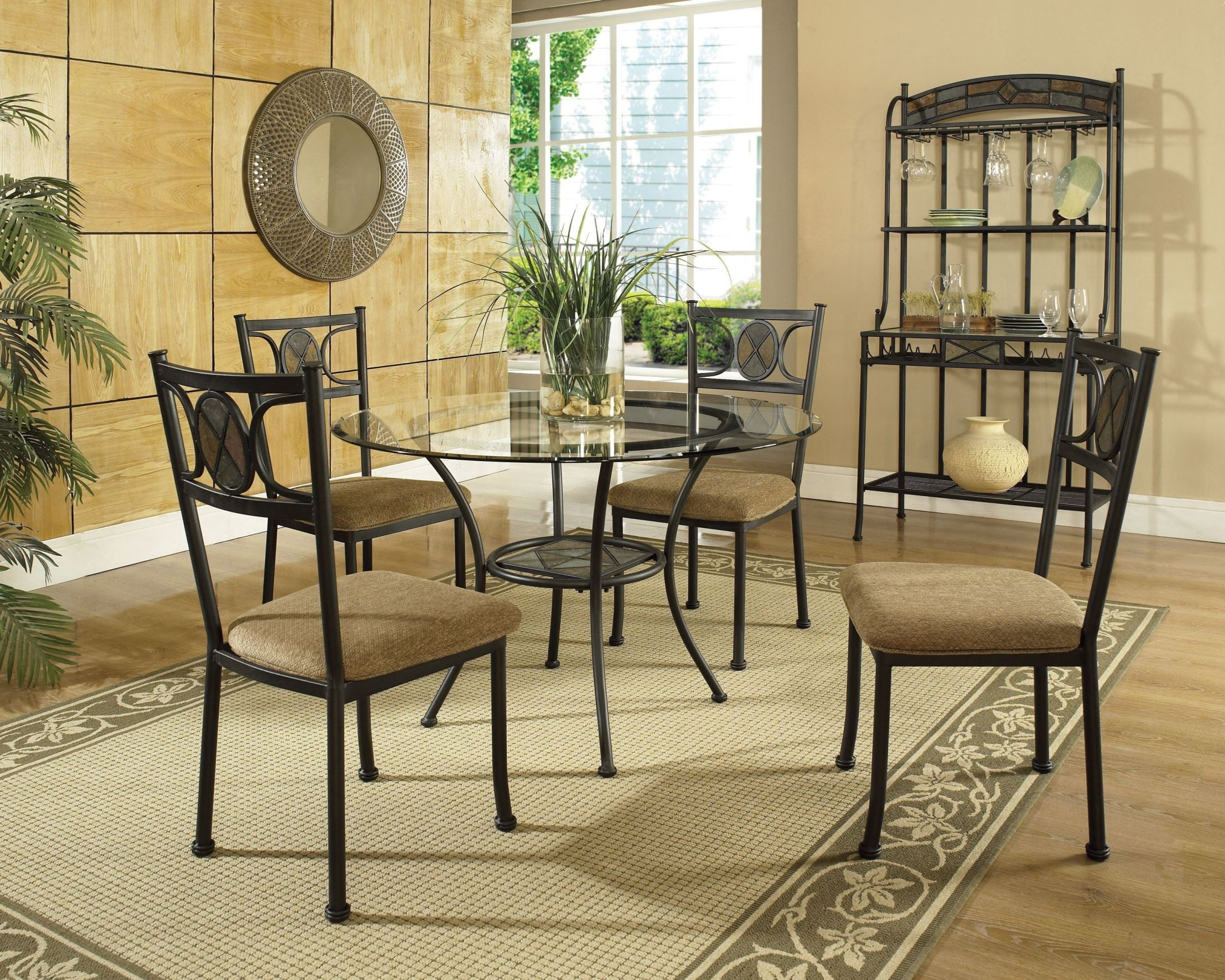 Carolyn glass top round dining room set from steve silver for Glass dining room sets