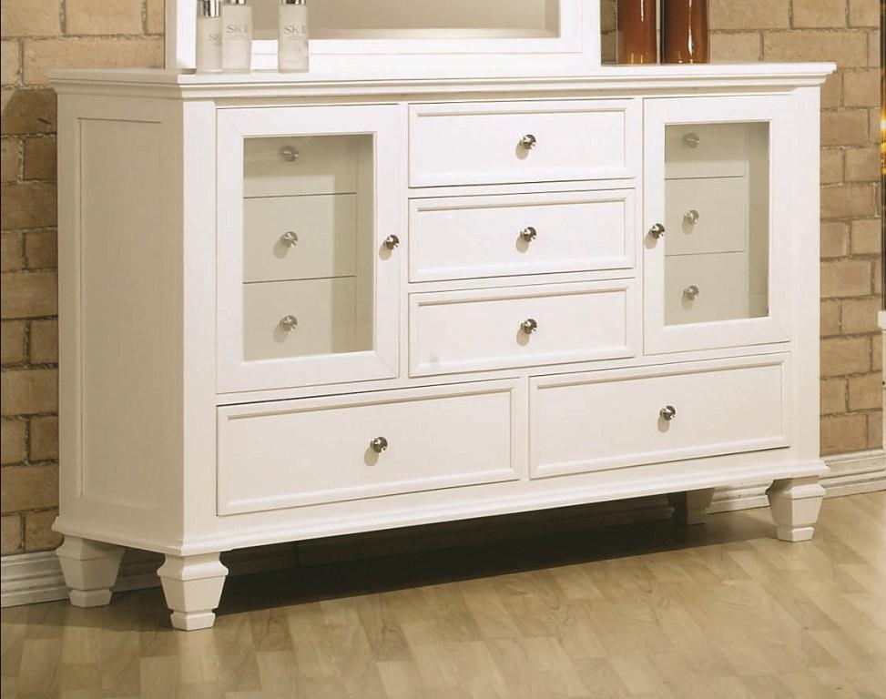 Sandy Beach White Sleigh Storage Bedroom Set