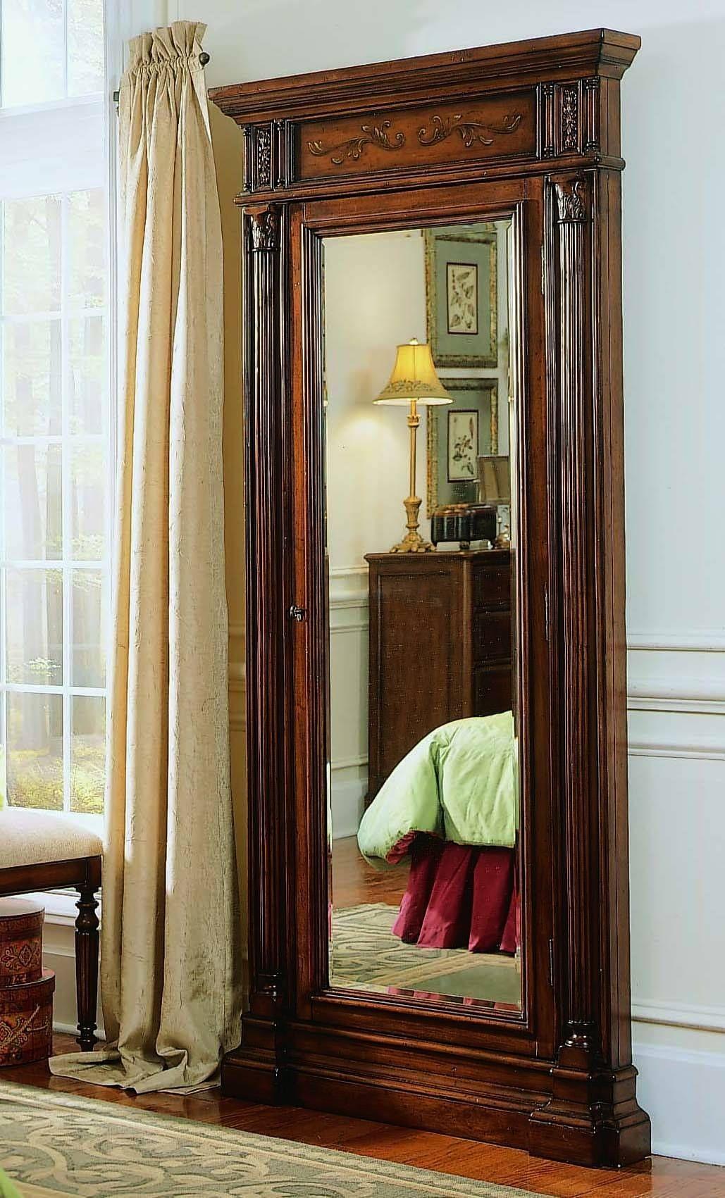 Dark Wood Jewelry Armoire Storage Floor Mirror From Hooker