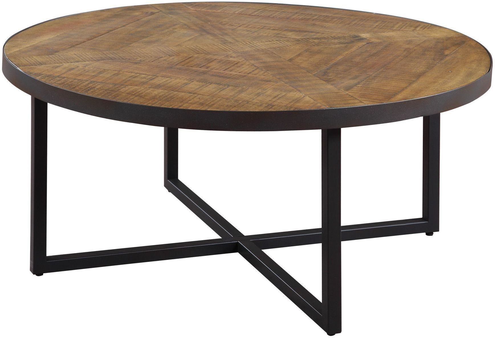 Denton Antique Pine Round Cocktail Table From Emerald Home Coleman Furniture