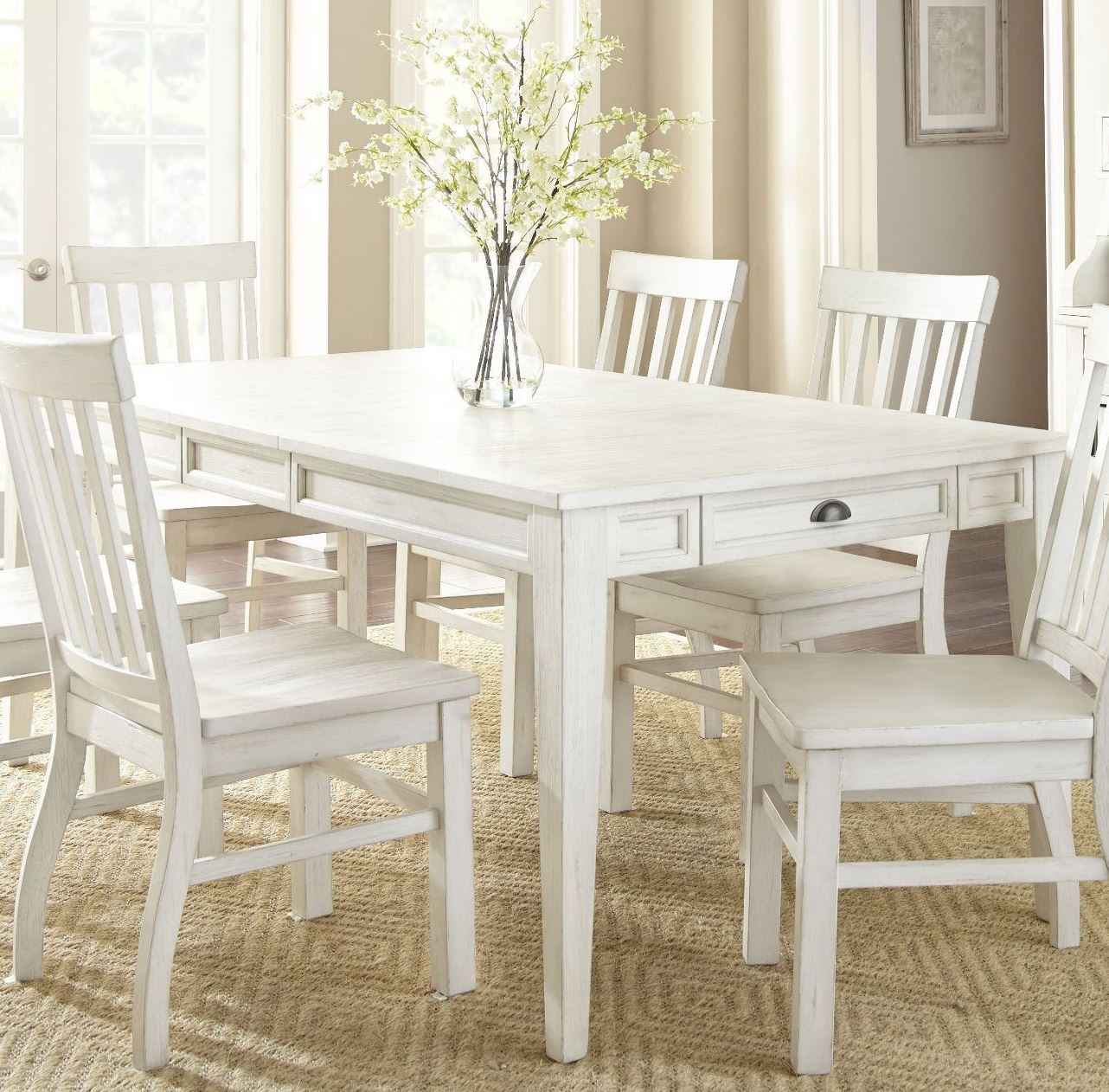 White Breakfast Table: Cayla Antique White Extendable Rectangular Dining Table