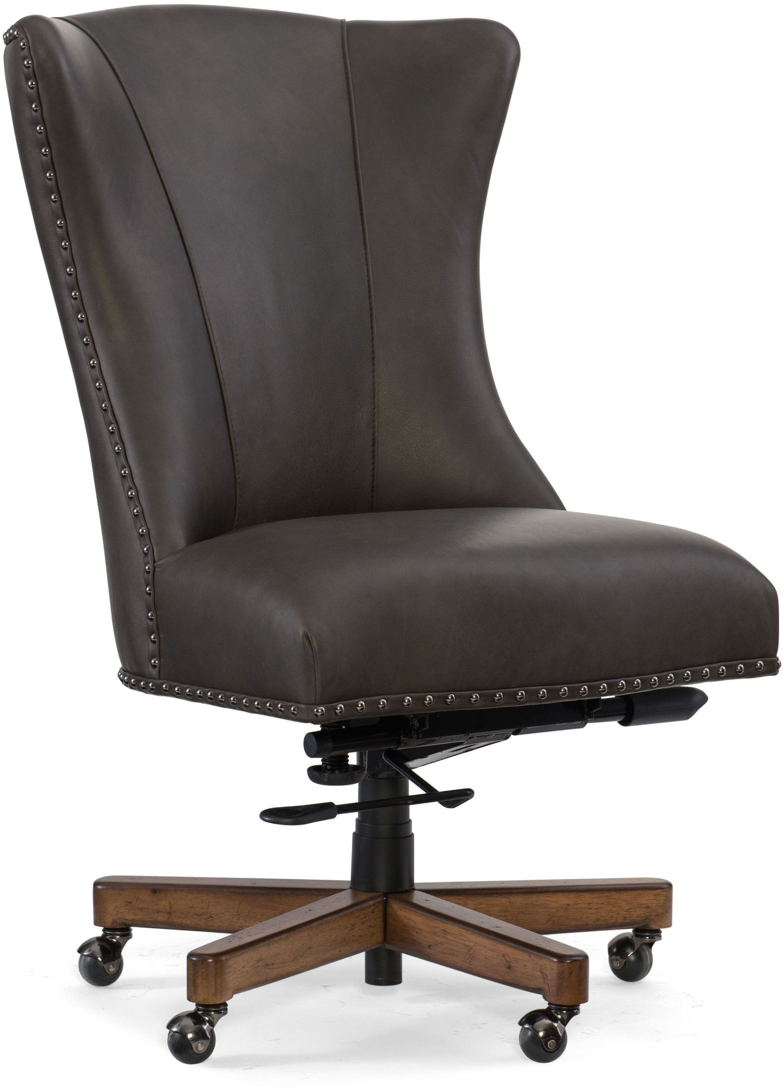 Lynn gray leather home office swivel chair from hooker for C furniture new lynn
